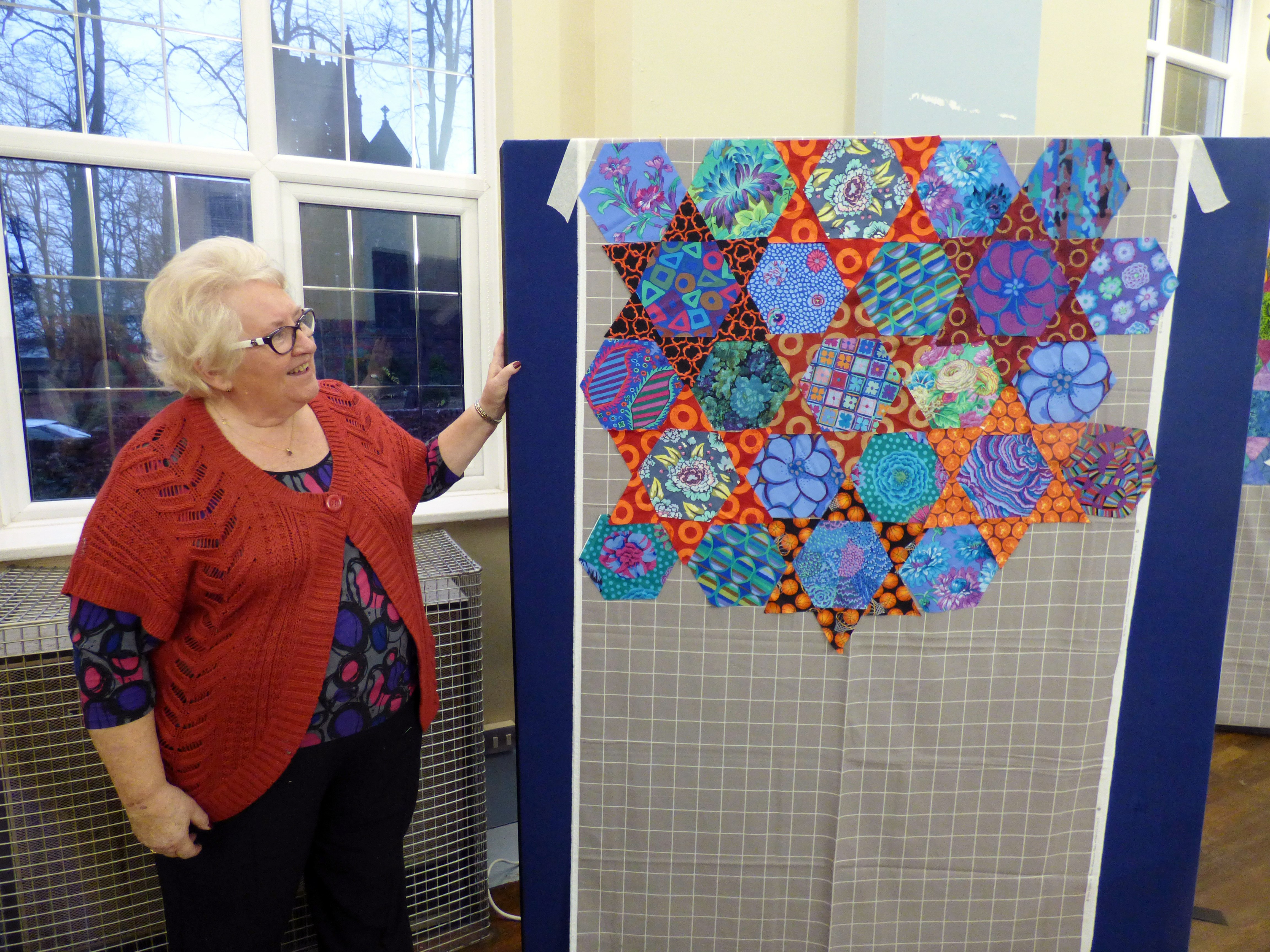 beautiful result at the end of the design workshop- Kaffe Fassett workshop, All Hallows, Dec 2016