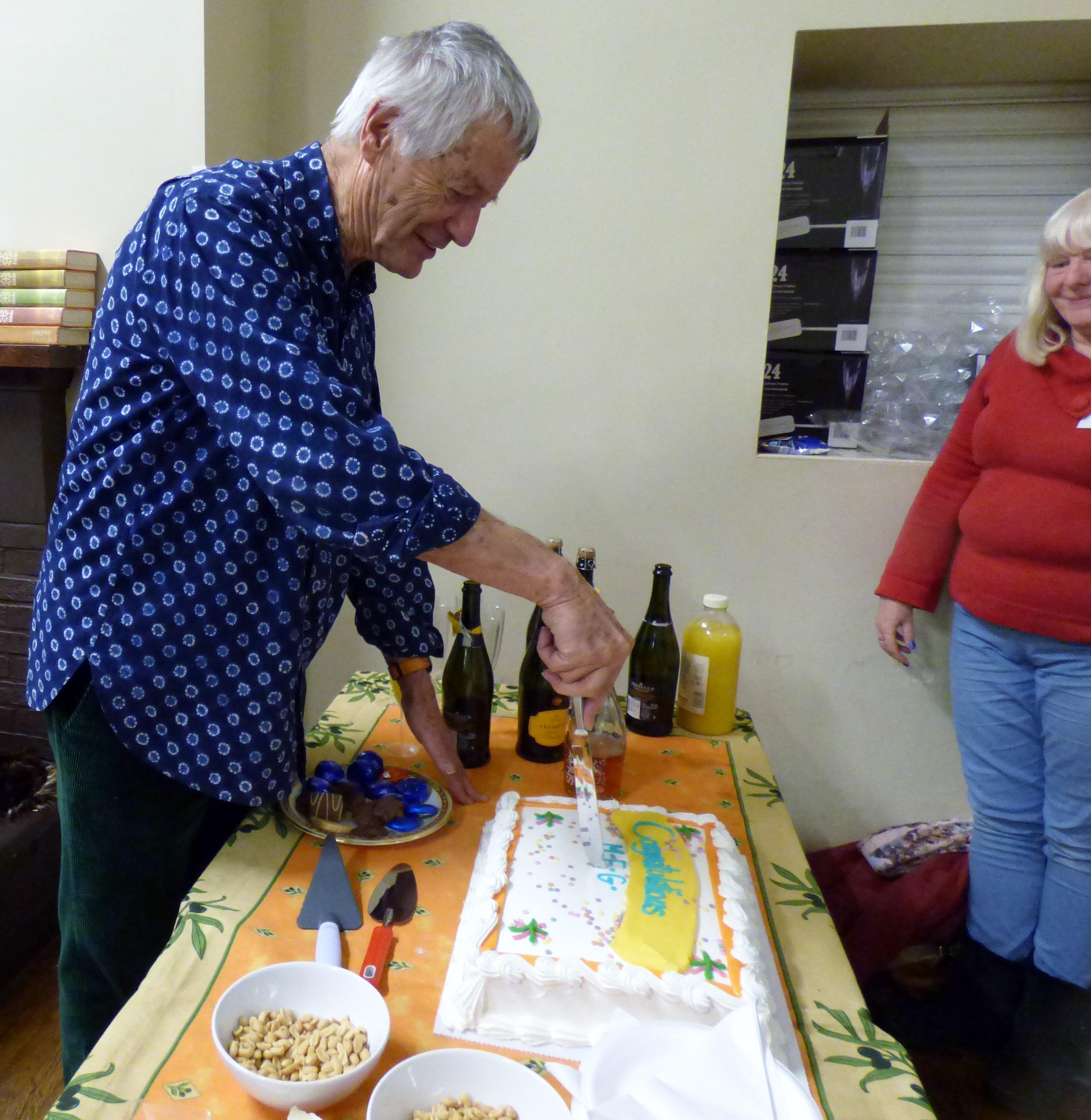 Kaffe cut our 60th Anniversary celebration cake at Kaffe Fassett workshop, All Hallows, Dec 2016