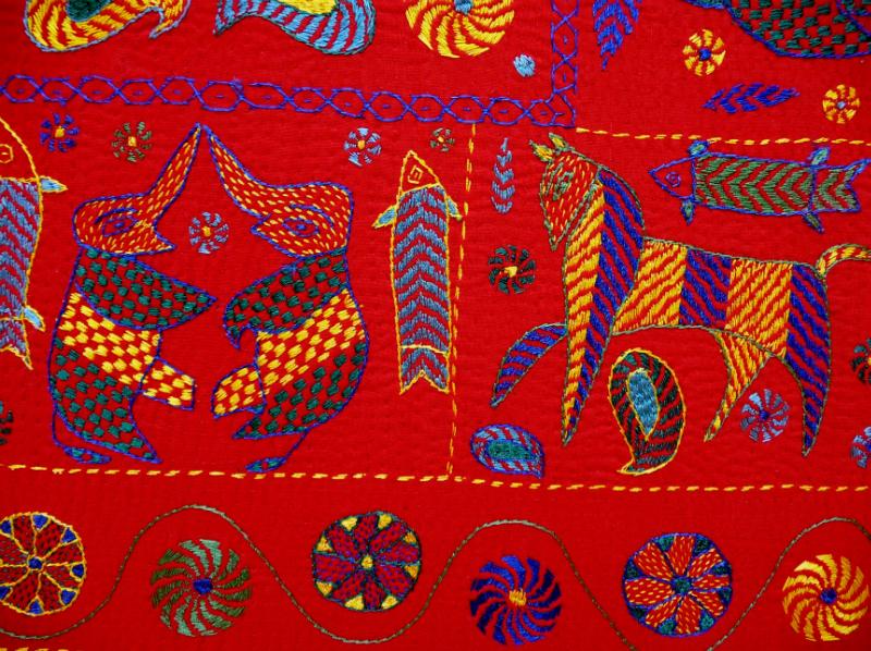 detail of Kantha quilt3 from Bangladesh