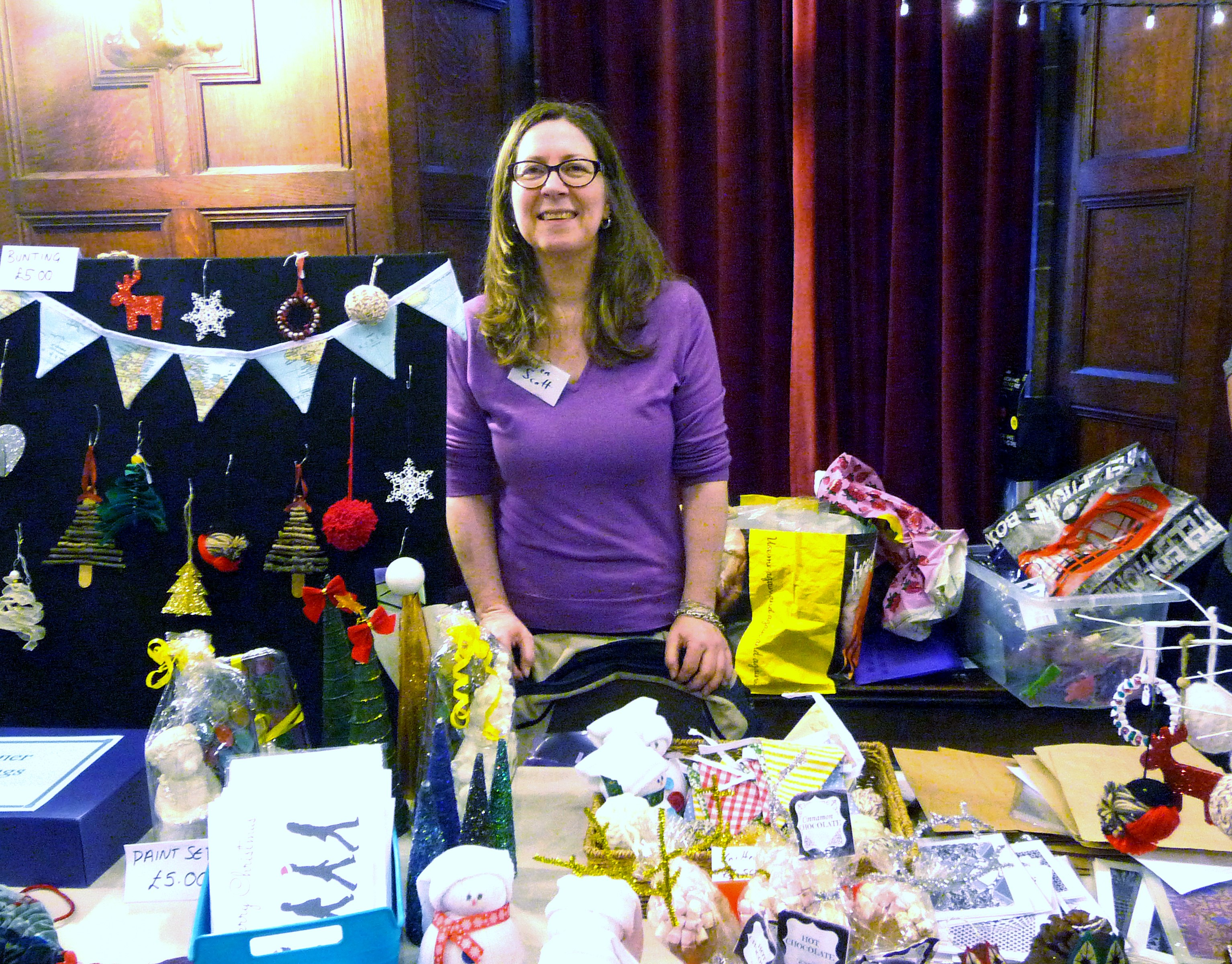 MEG Christmas Party 2015- Karen Scott with her stall to support Hope University Design students Final Degree Show