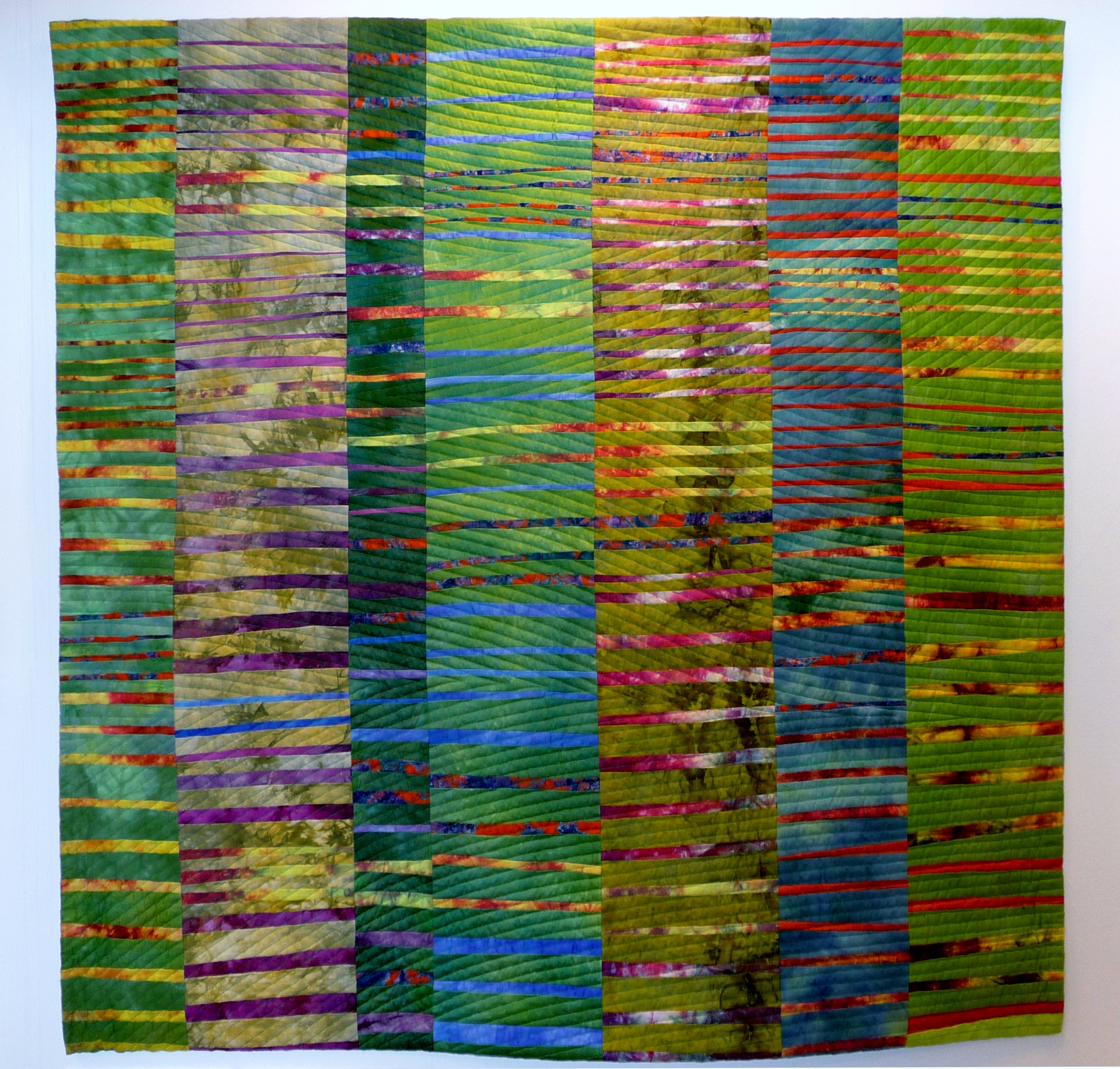 MEADOW CONSTRUCTION  by Christine Restall, strip pieced quilt