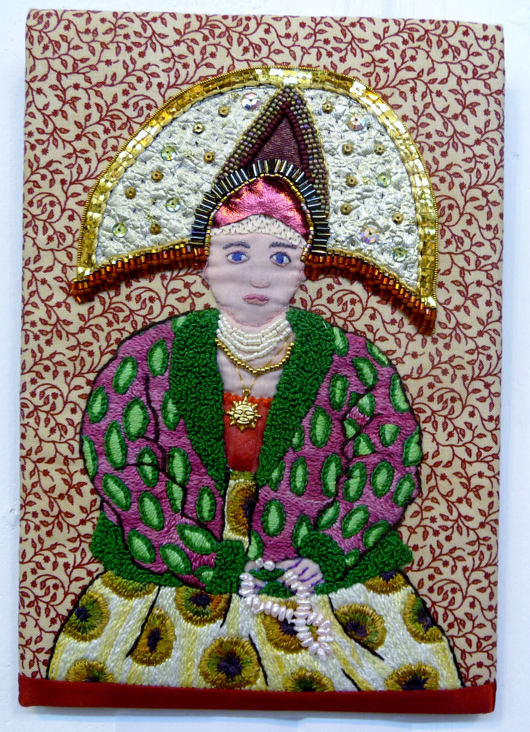 EG All That Glistens 2015 entry RUSSIAN PEASANT WOMAN FROM THE VLADIMIR REGION (Highly commended Beryl Dean Award for Hand Stitching)