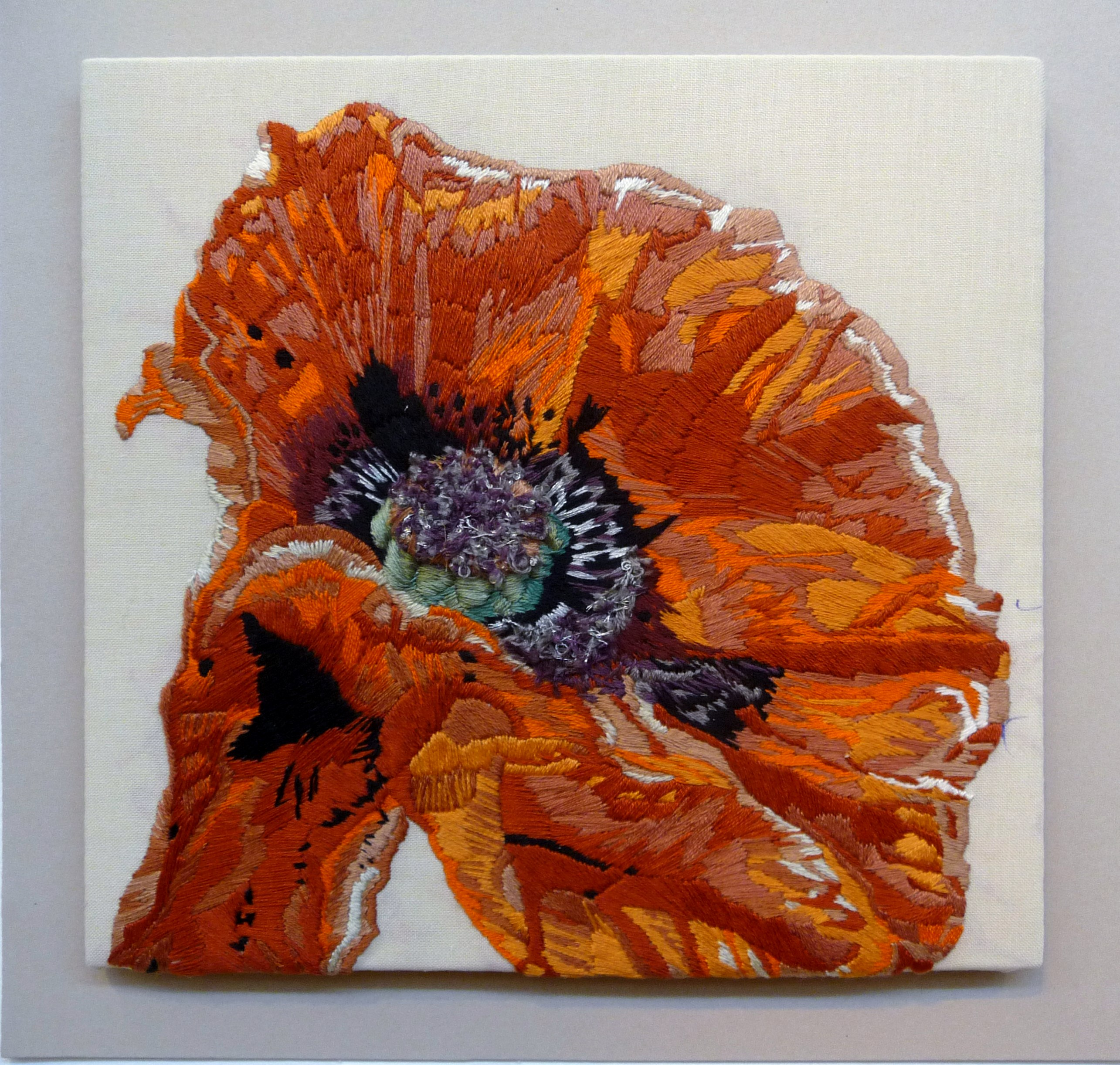 EG All That Glistens 2015 entry POPPY: FROM THE FIRE by Joanna Biggs (winner Constance Howard Award for Most Outstanding Piece) (winner Beryl Dean Award for Hand Stitching)