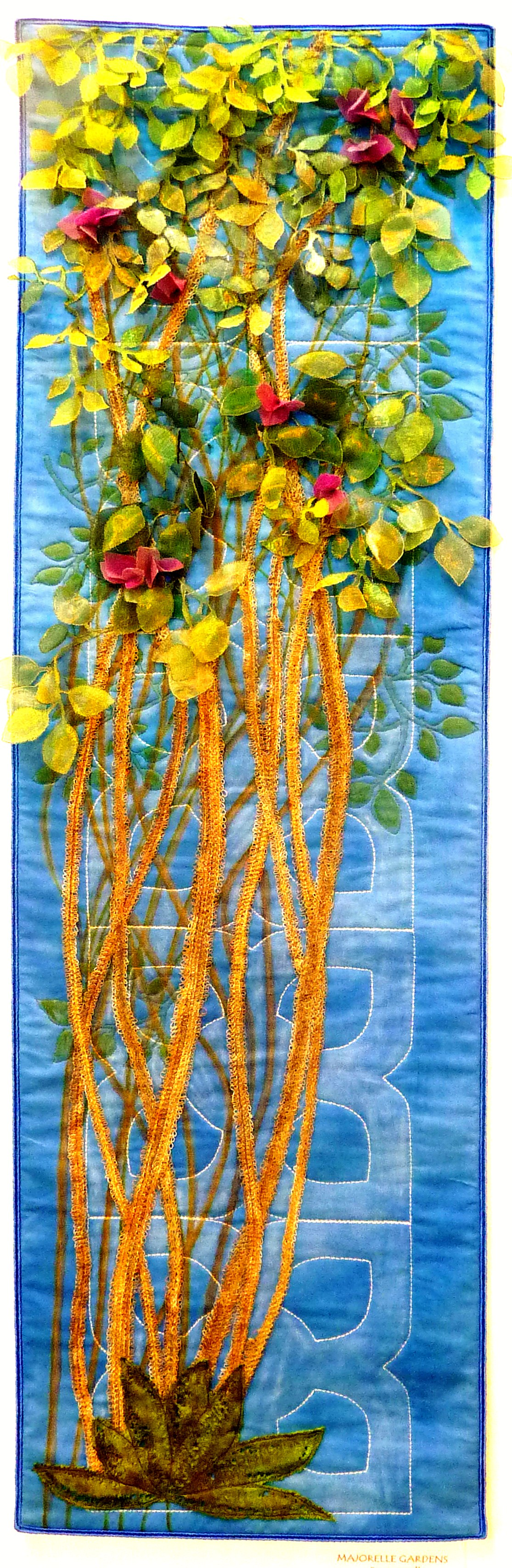 MAJORELLE GARDENS(Bougainvillea) by Pauline Barnes from Tangent Textiles