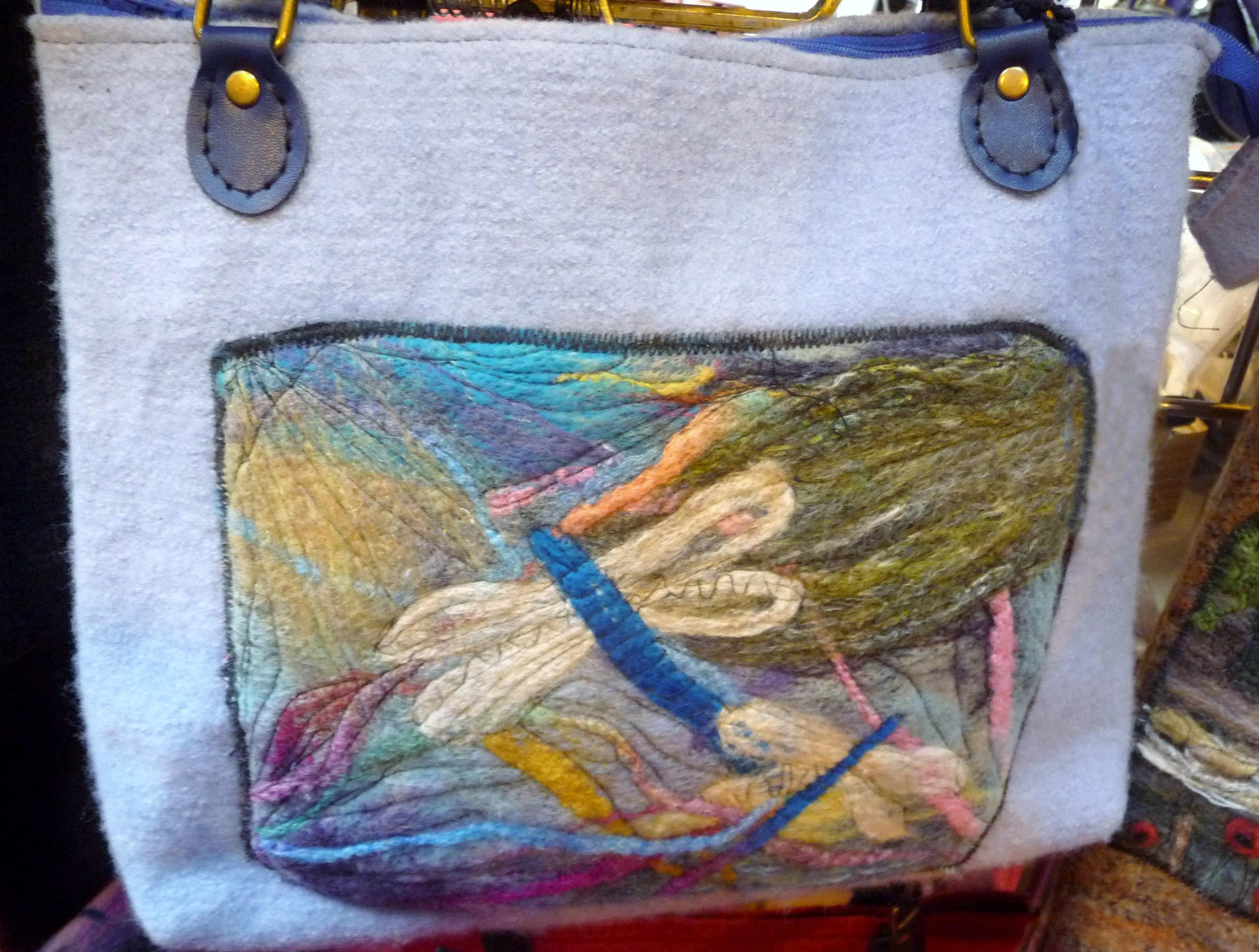felt bag with needle felted panel