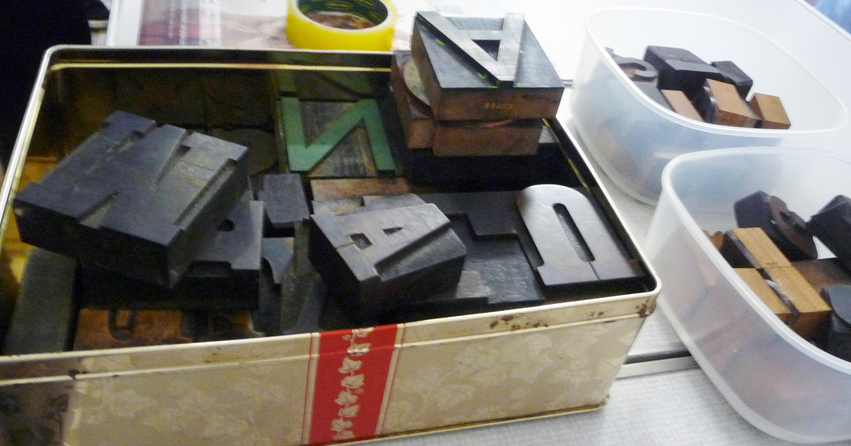 "wooden printing blocks at ""Lets Print"" wokshop with Elsie Watkins, November 2014"
