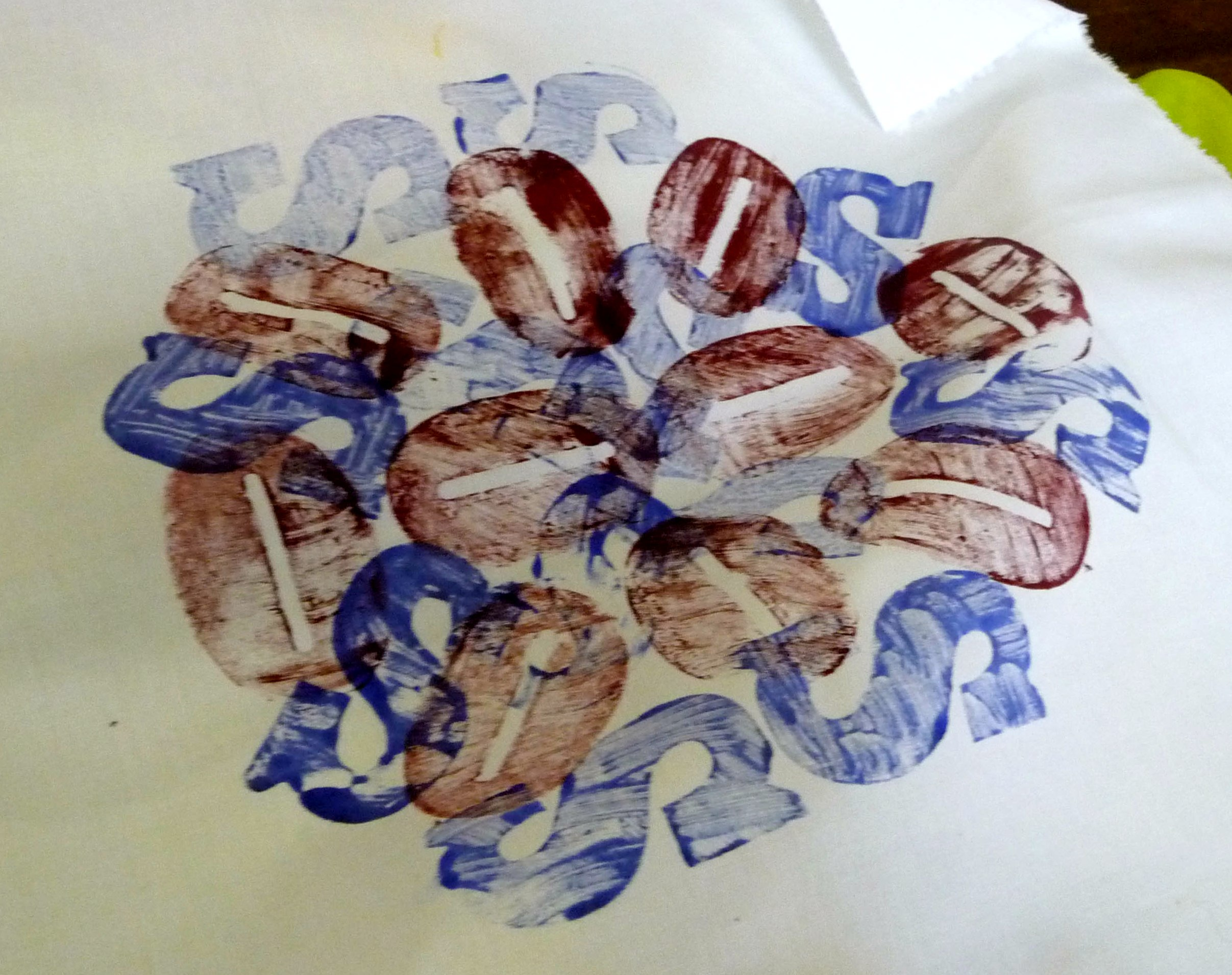 "a student's work at ""Lets Print workshop with Elsie Watkins"