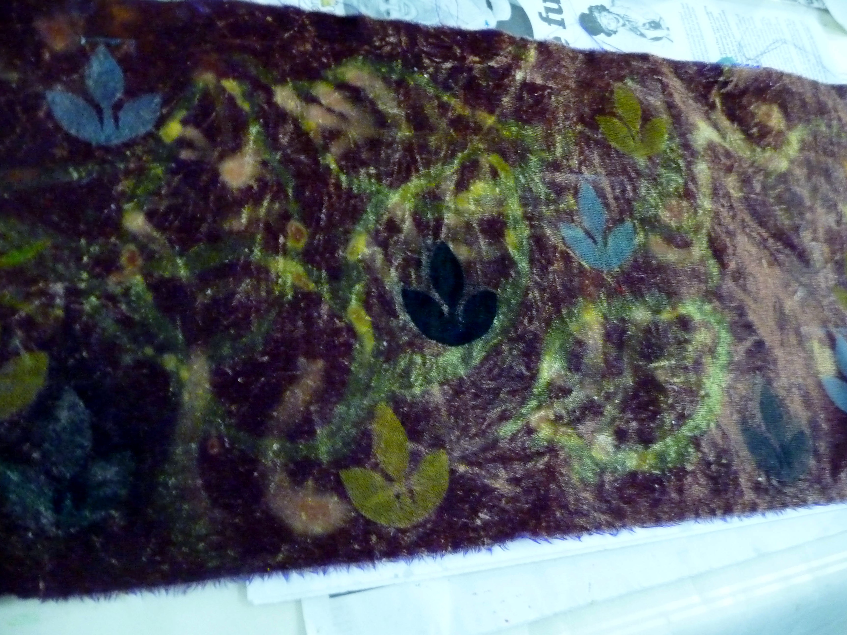 "bleached velvet which has been stamped, by a student at Elsie Watkins ""Lets Print"" workshop"