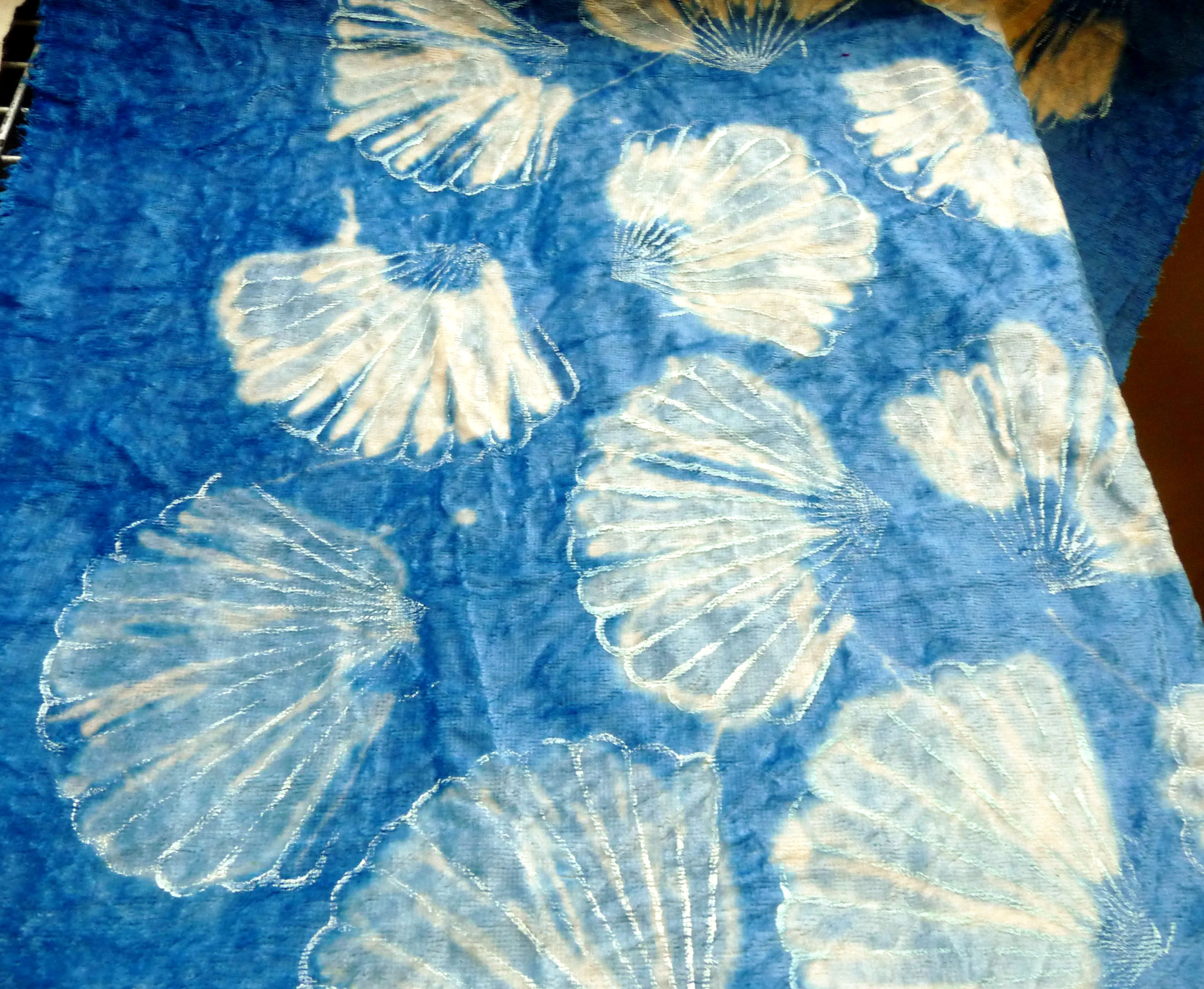 "printed and bleached fabric by a student at ""Lets Print"" workshop"