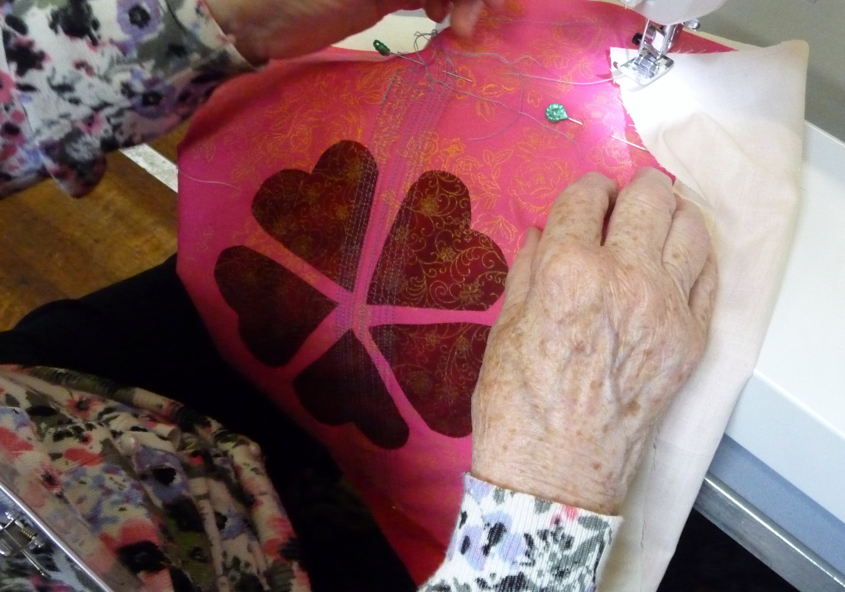 students work at Machine Embroidery workshop with Norma Heron