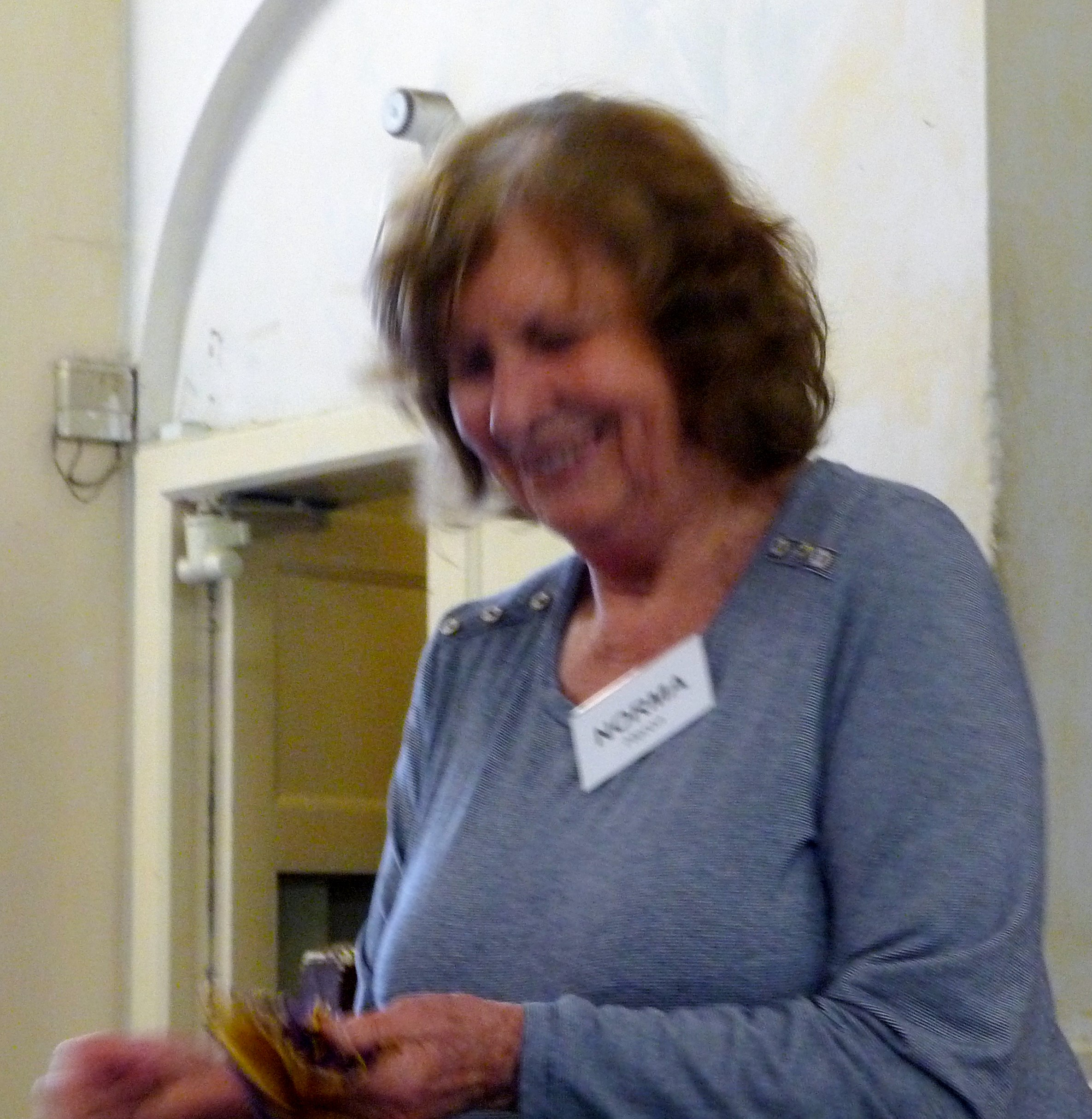 Norma Heron, our Tutor at the Machine Embroidery Workshop