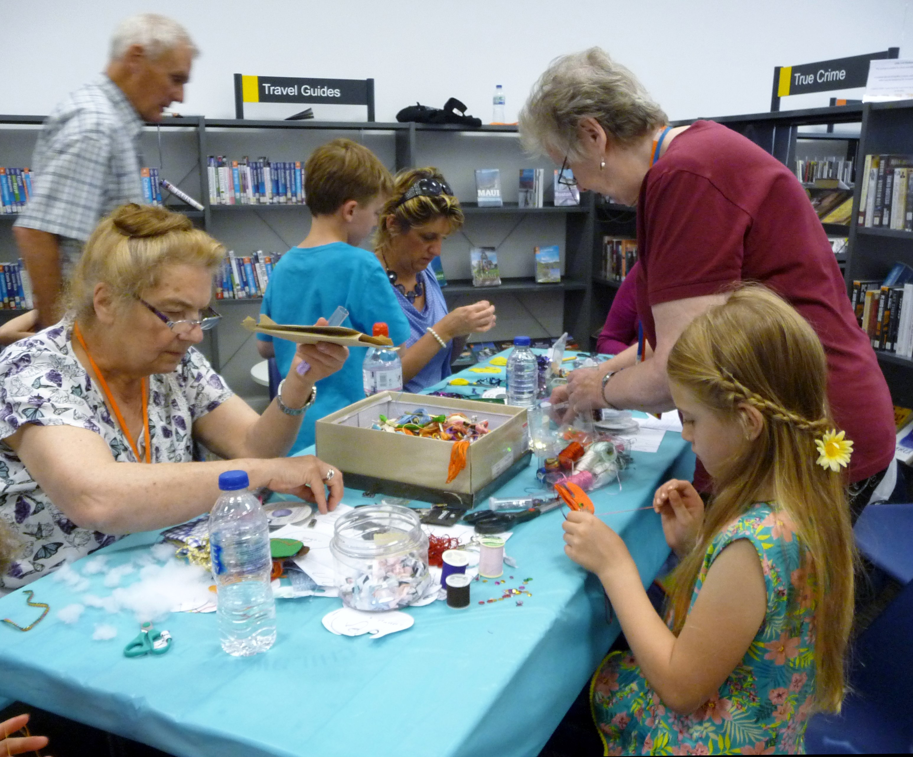 a busy MEG workshop at MAKEFEST in Liverpool Central Library, June 2015