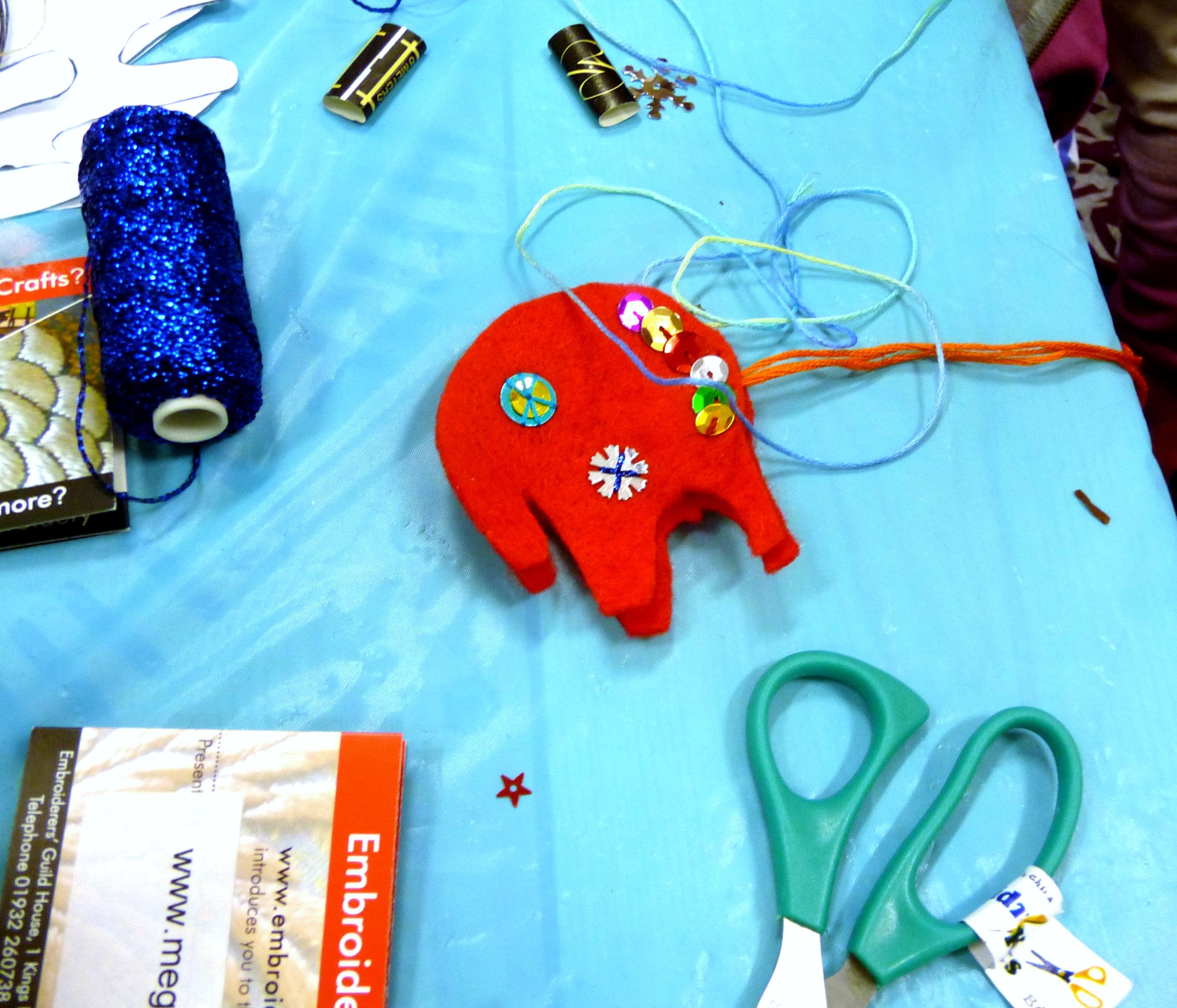 MEG ran a workshop making embroidered elephants at MAKEFEST in Liverpool Central Library, June 2015
