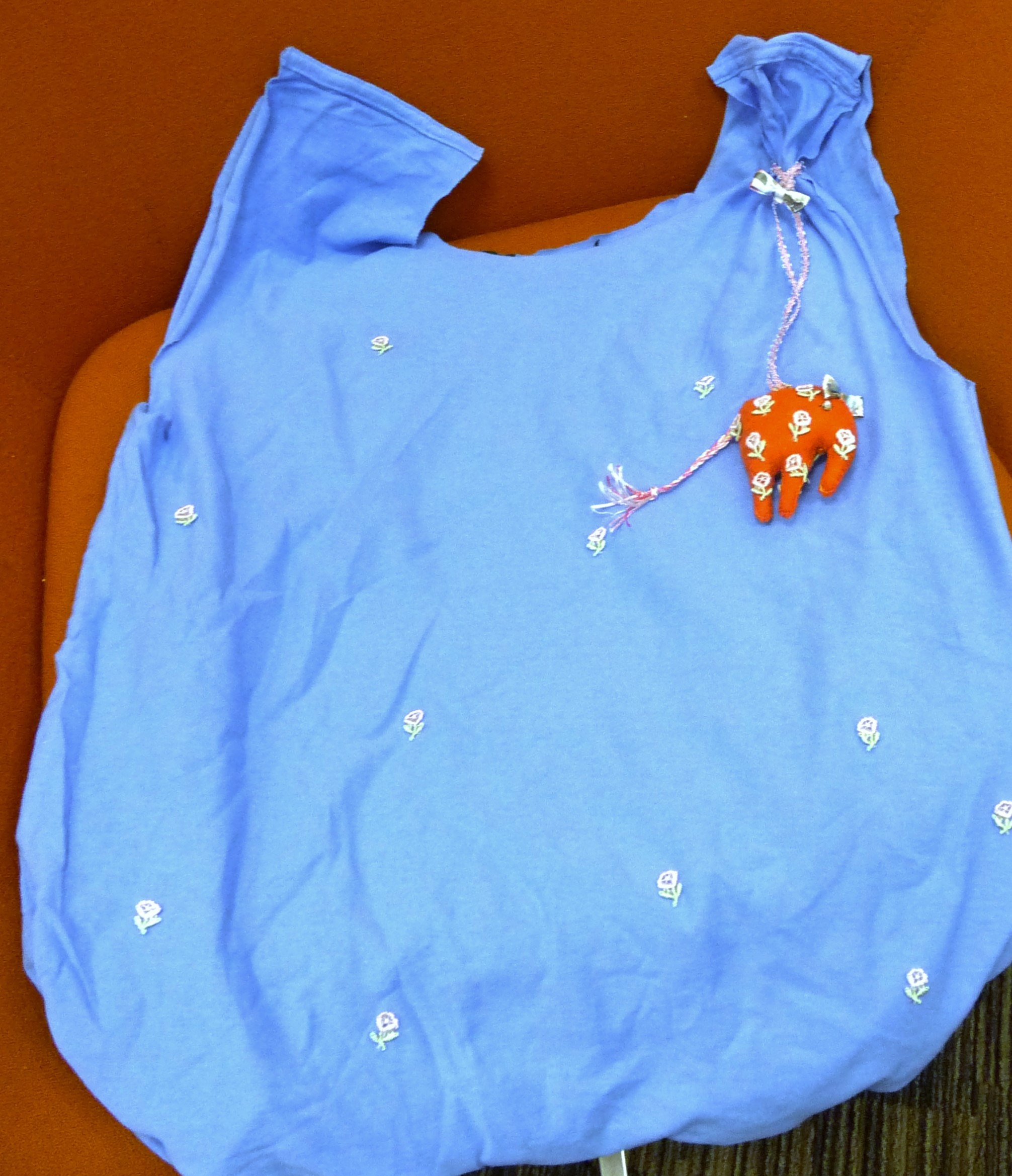 one person made a carry bag from a teeshirt and added an embroidered elephant made at the MEG workshop at MAKEFEST in Liverpool Central Library, June 2015