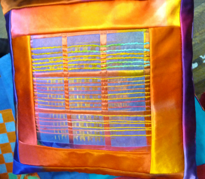 cushion with dyed fabrics and embroidery by Ruth Isset