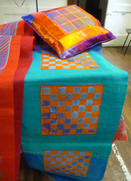 display of dyed textiles by Ruth Isset