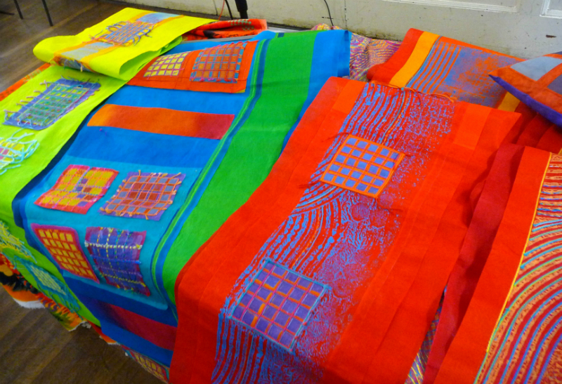 display of fabrics by Ruth Isset