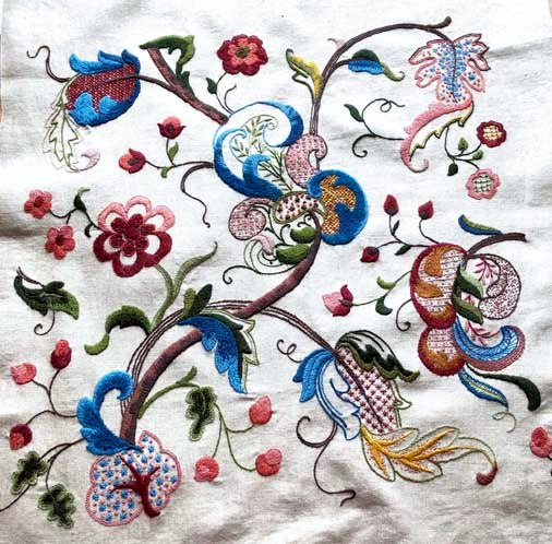 entry to MEG Christmas Competition 2020, joint 2nd Prize winner. CREWELWORK EMBROIDERY by Sarah Lowes