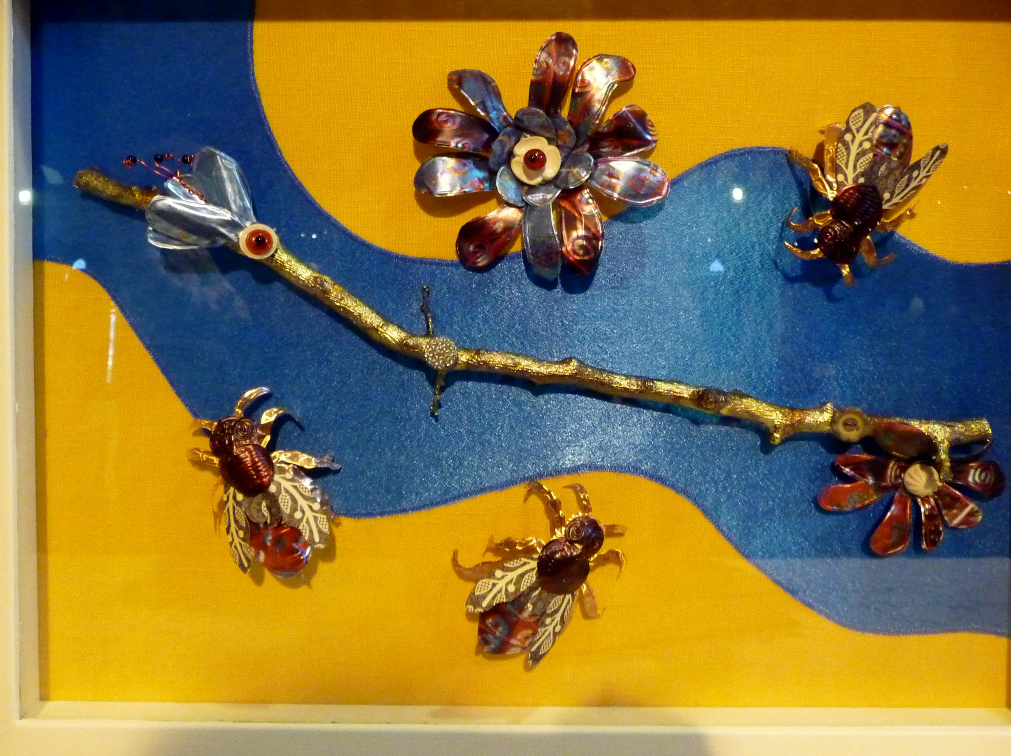 """3D """"Bees"""" by Janet Wilkinson, mixed media. printed foil"""