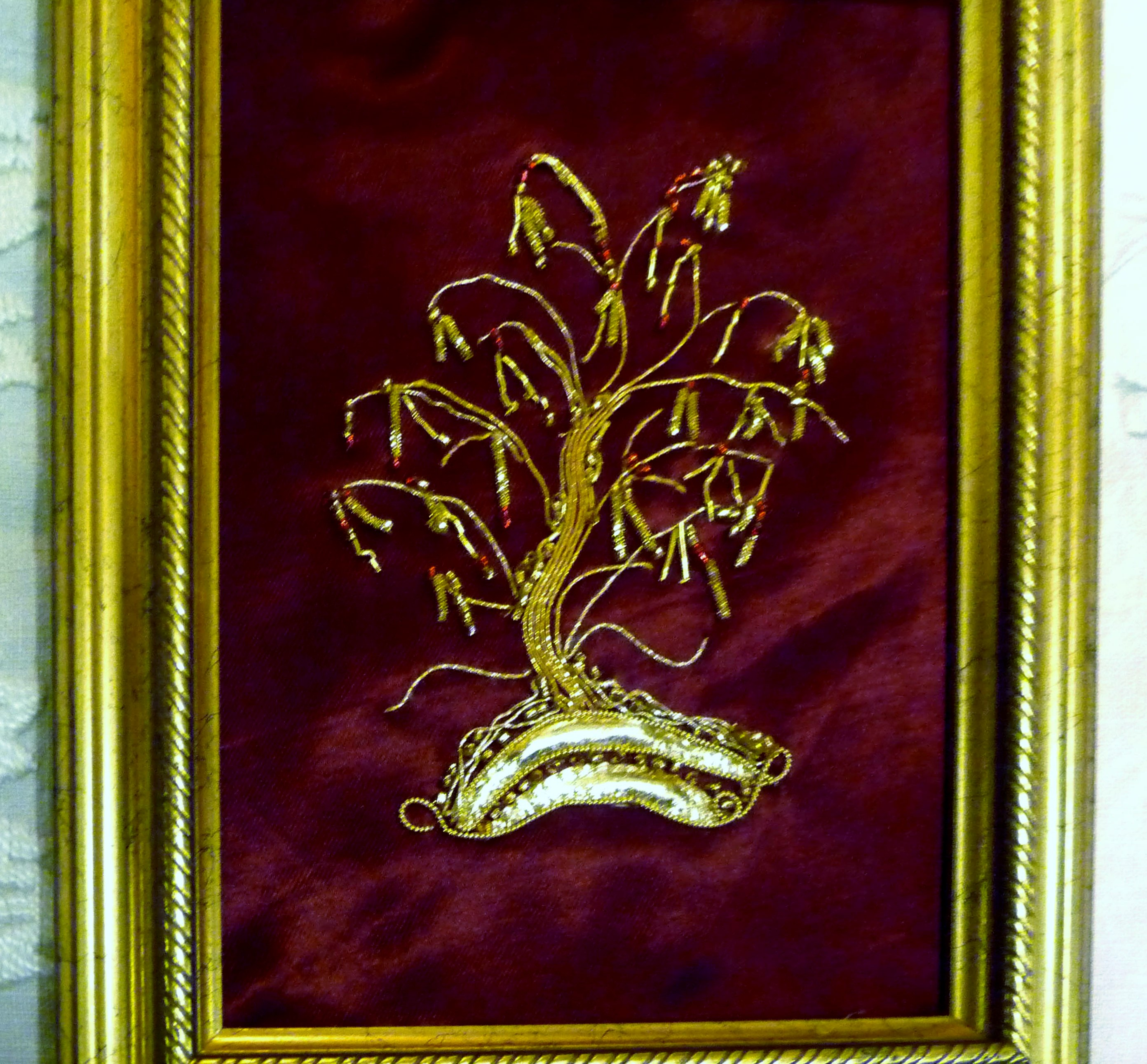 sample of goldwork from November 2013 Workshop on display at MEG Christmas Party 2013