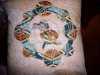 reverse applique cushion made by Margaret Crichton