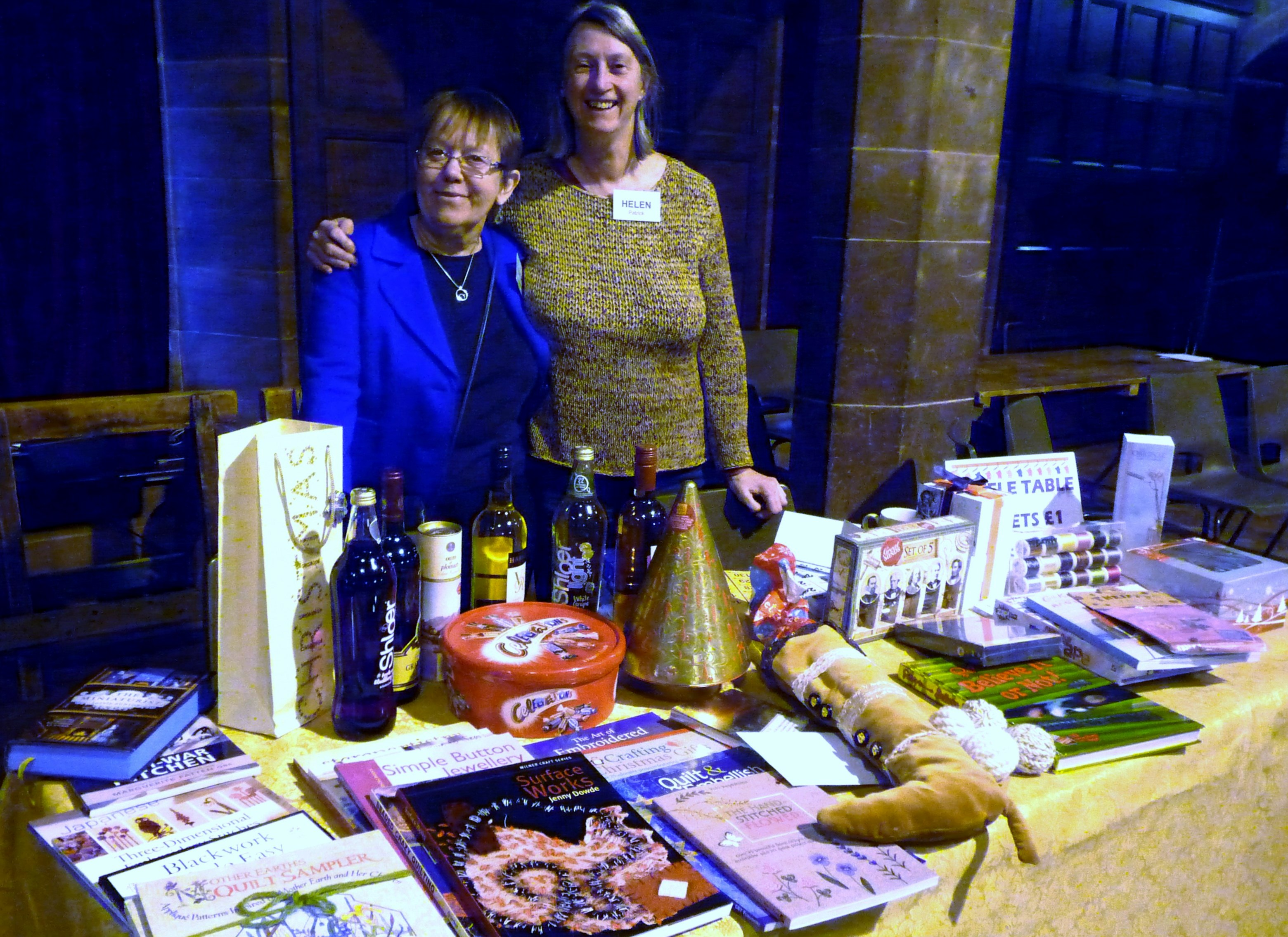 MEG Christmas Party 2015- Marie & Helen and the Raffle Table