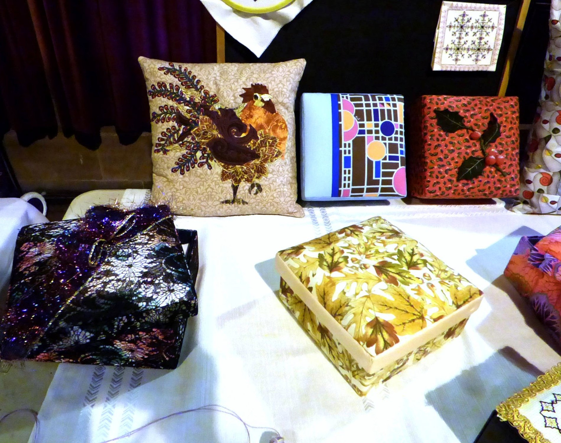 a selection of work produced at MEG workshops during 2017 at MEG Christmas party 2017