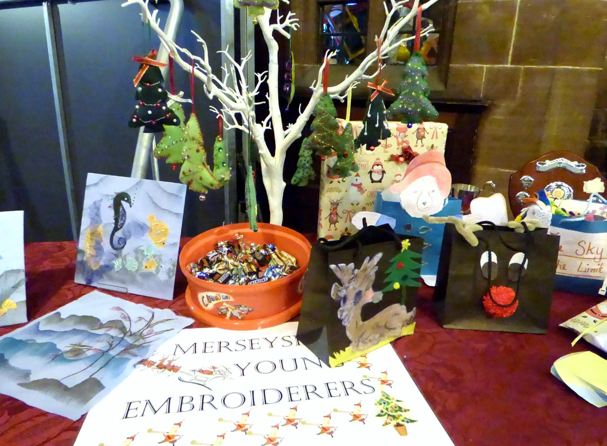 display of work by Merseyside Young Embroiderers at MEG Christmas Party 2017