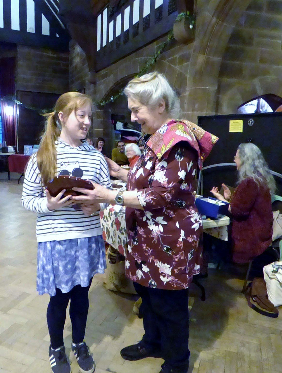 Ailis is Merseyside Young Embroiderer of the Year 2017. She is being presented with the Sreepur Shield by MEG Chair Vicky Williams