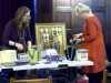 Karen and Sarah preparing the stall at MEG Christmas Party 2017