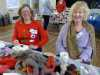 """Pauline and Mal with """"Make a Needlefelted Robin"""" activity at MEG Christmas Party 2019"""
