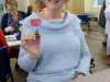NW Regional Chair Sue Chisnall was pleased to make a button Christmas decoration at MEG Christmas Party 2019