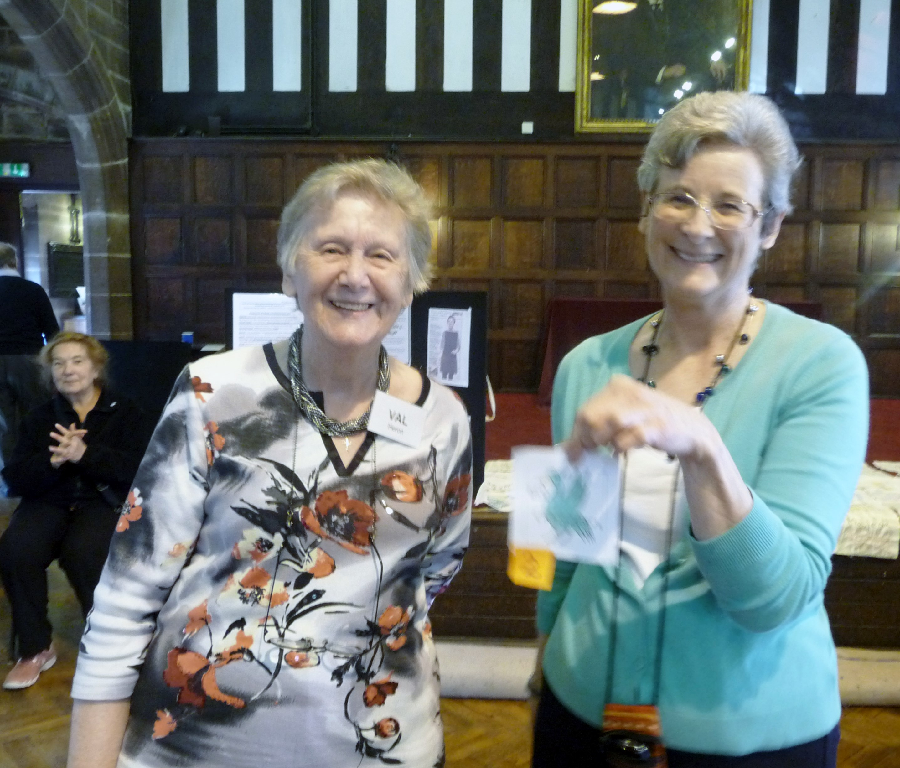 this is Val Heron, winner of MEG LOGO competition with our Chair Kim Parkman at MEG Summer Tea Party 2015