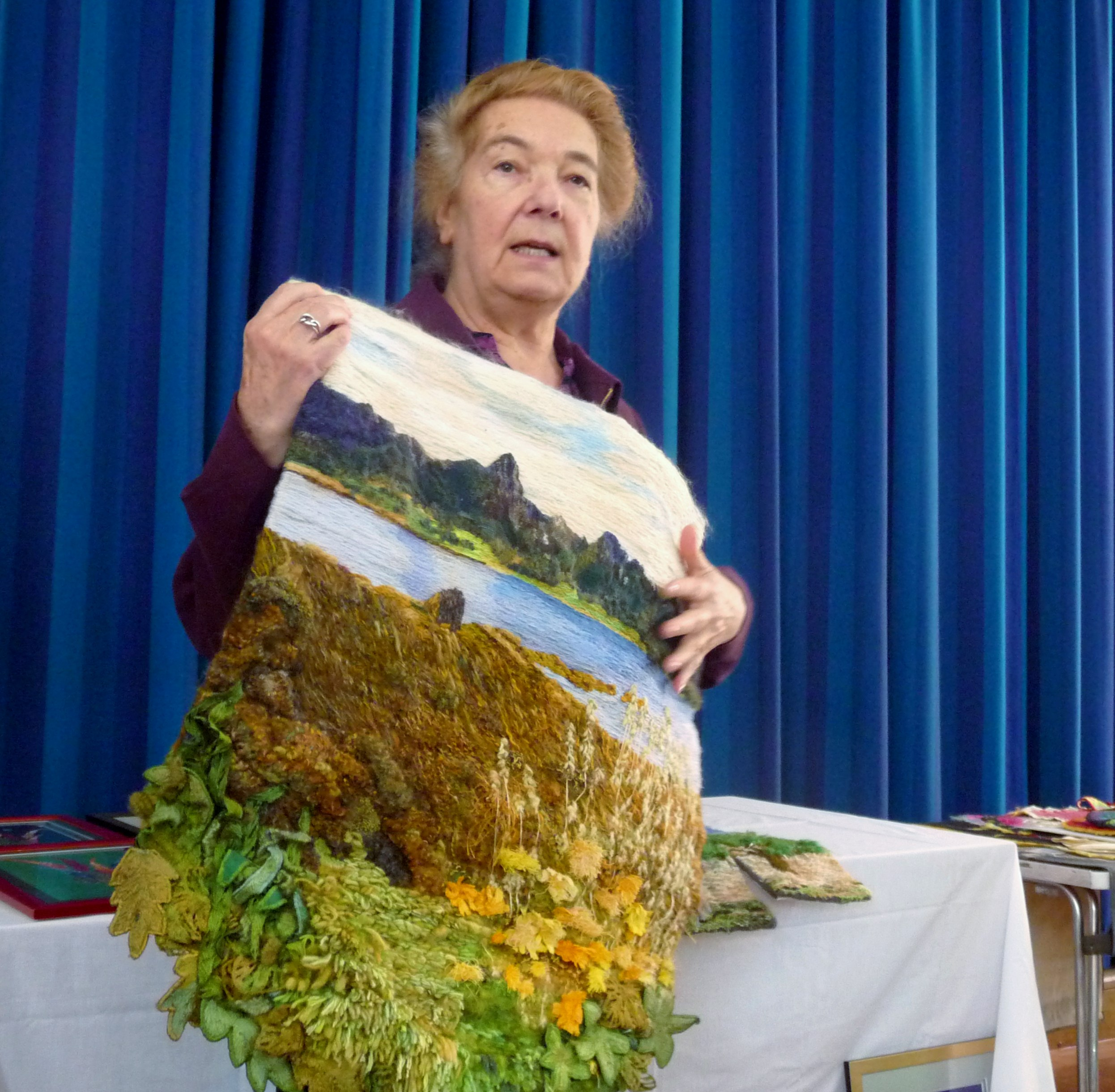 Vicky Williams is telling us about her wool embroidery at Altrincham EG