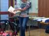 Liz Shelbourne sharing her work with N.Wales EG, October 2017