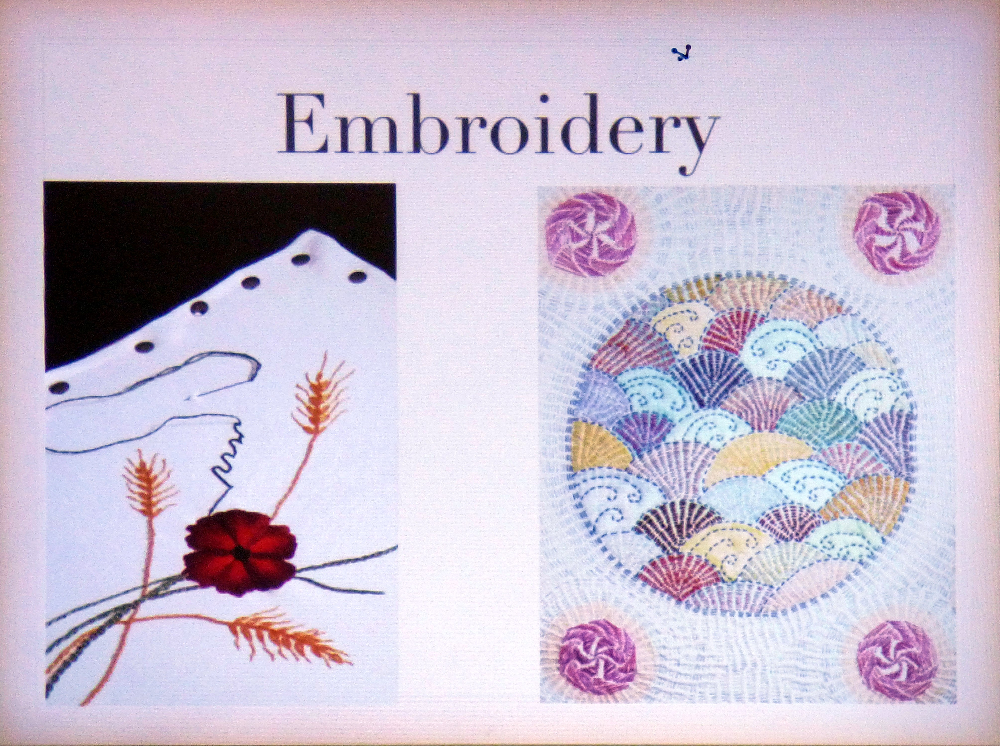 slide by Gill Roberts showing some of her past embroideries