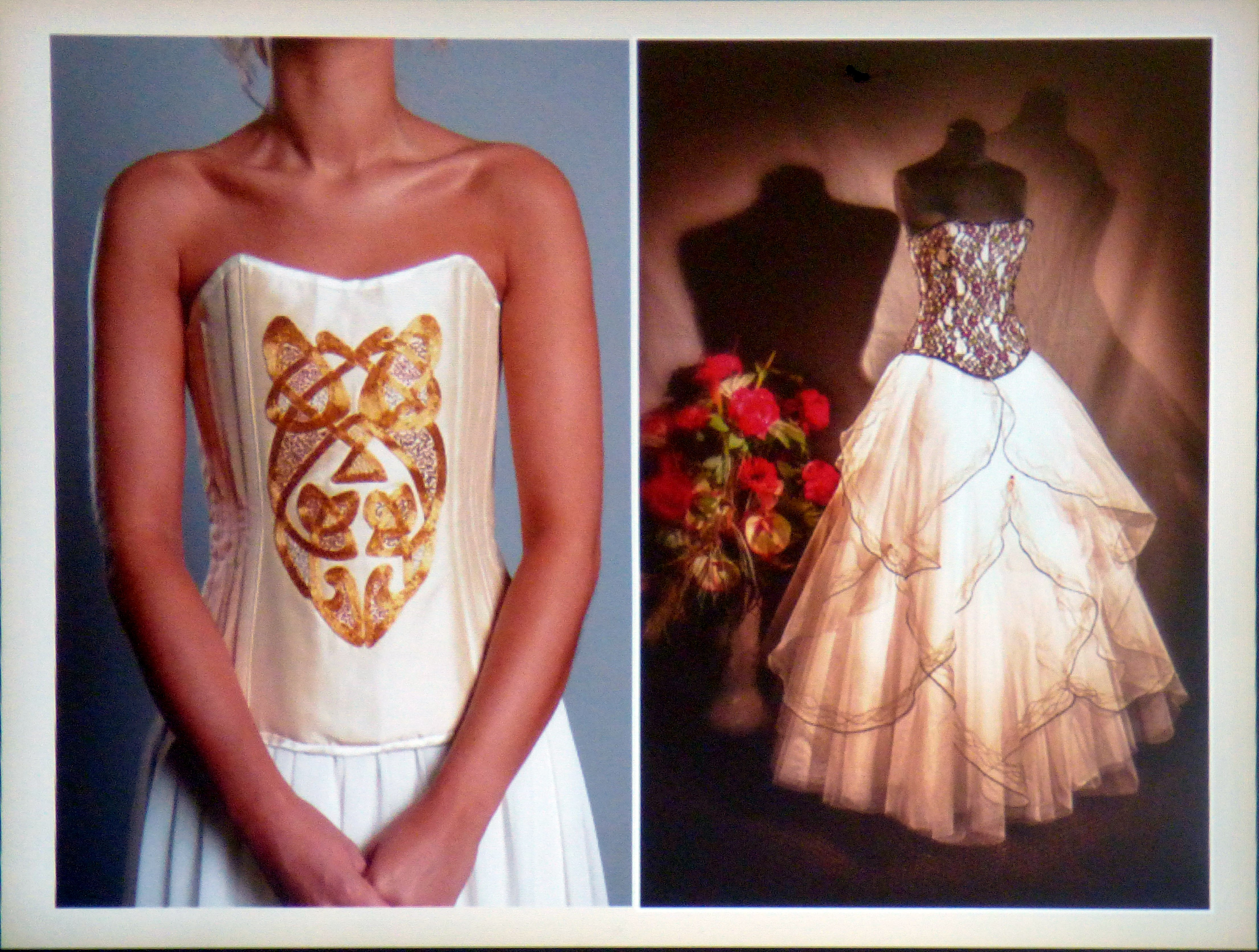 slide by Gill Roberts showing some of her corset gowns