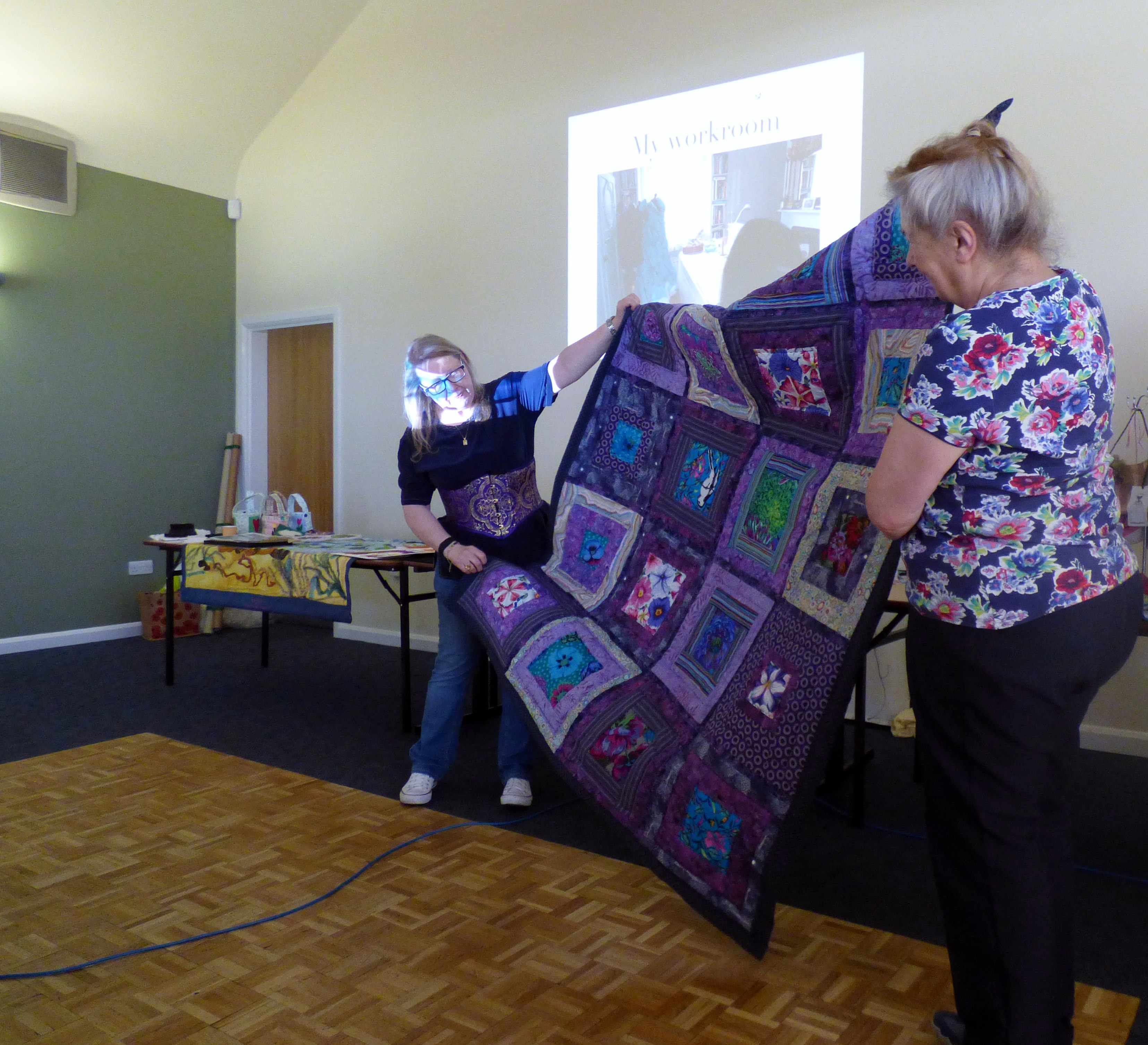 Gill Roberts and Vicky Williams with Gill's quilt made following a Kaffe Fassett workshop