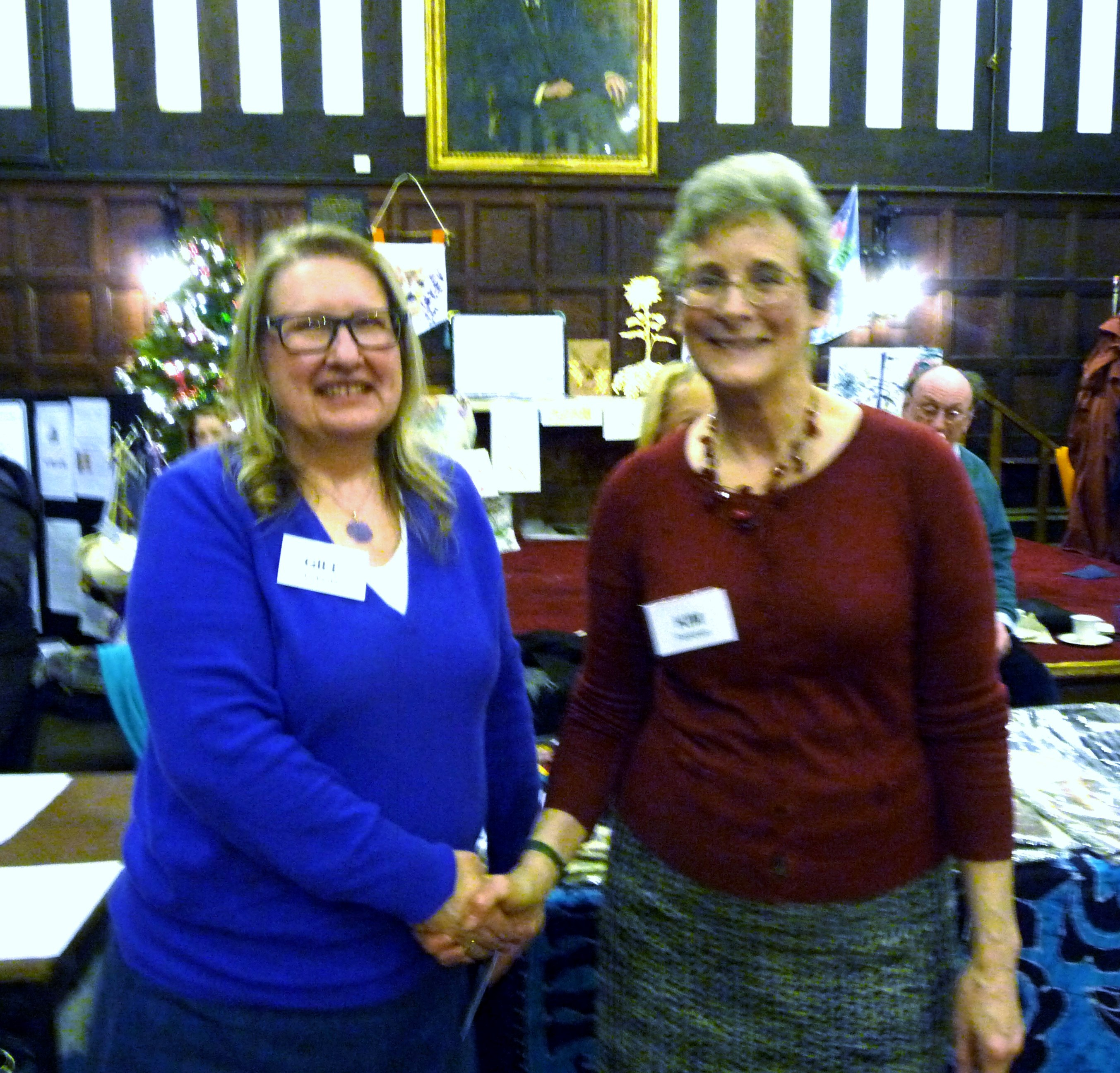 MEG Christmas Party 2015- Gill Roberts won the Traditional Embroidery competition 2015