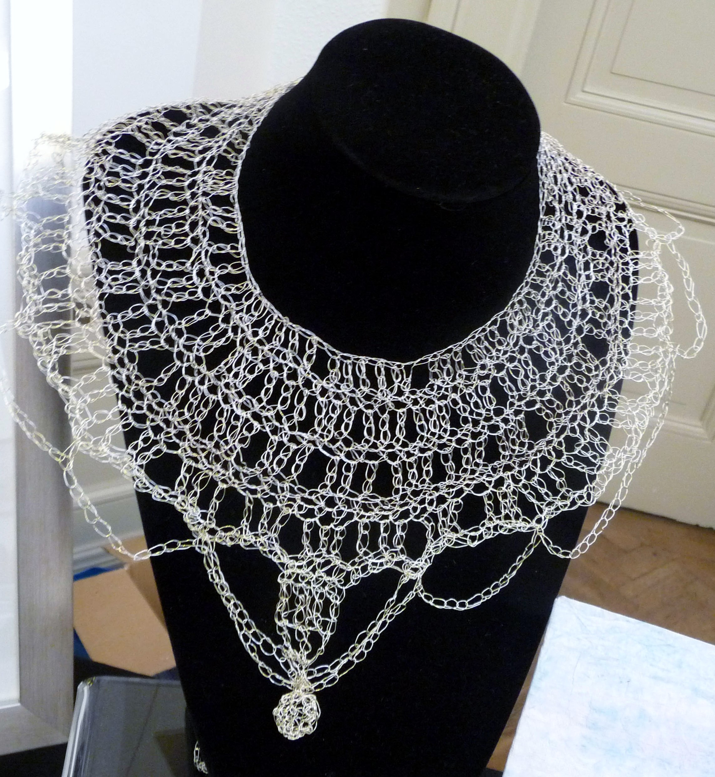 crochet wire necklace by Moya McCarthy, based on Egyptian influences