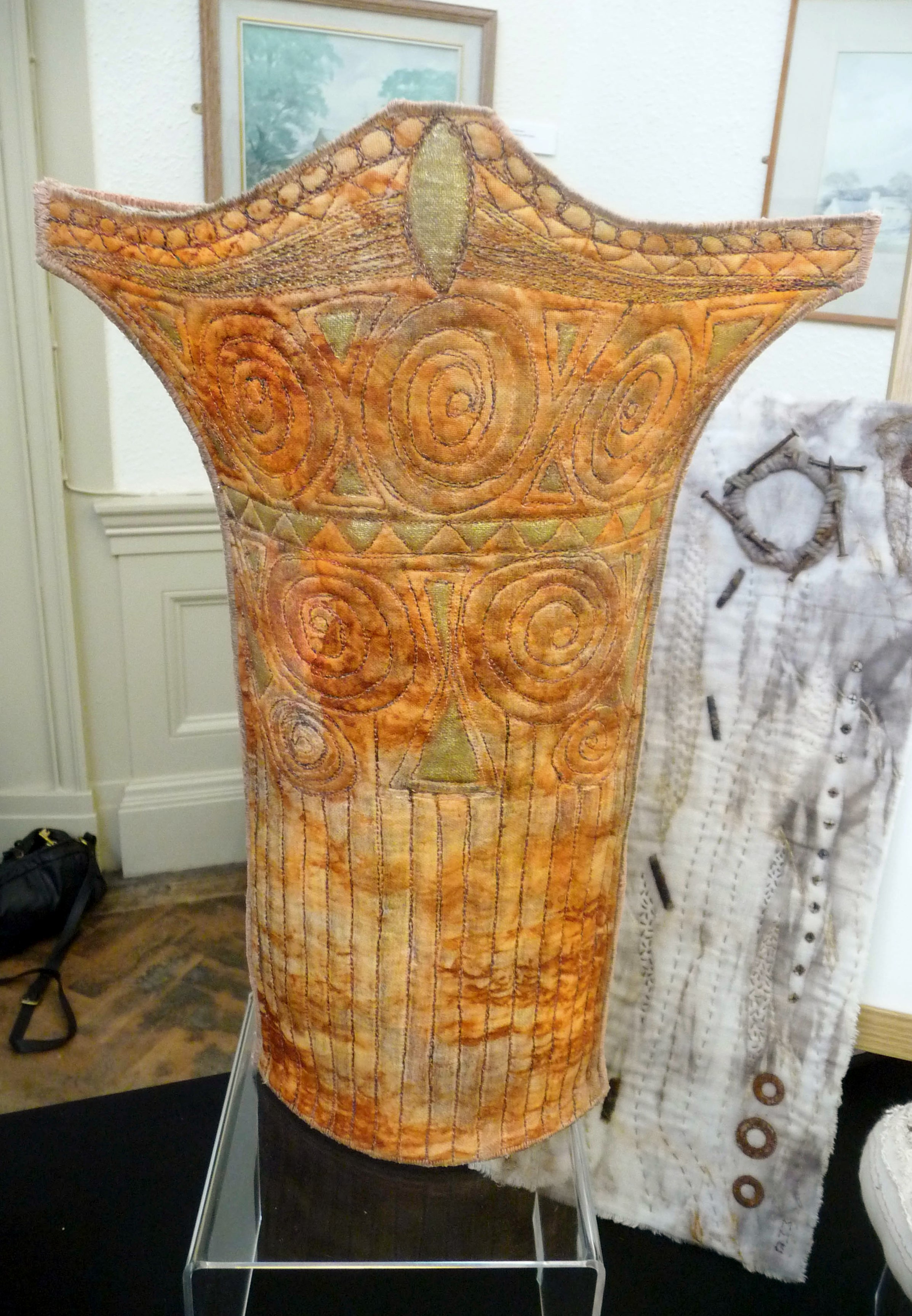 rust embroidered 3D vessel by Moya McCarthy