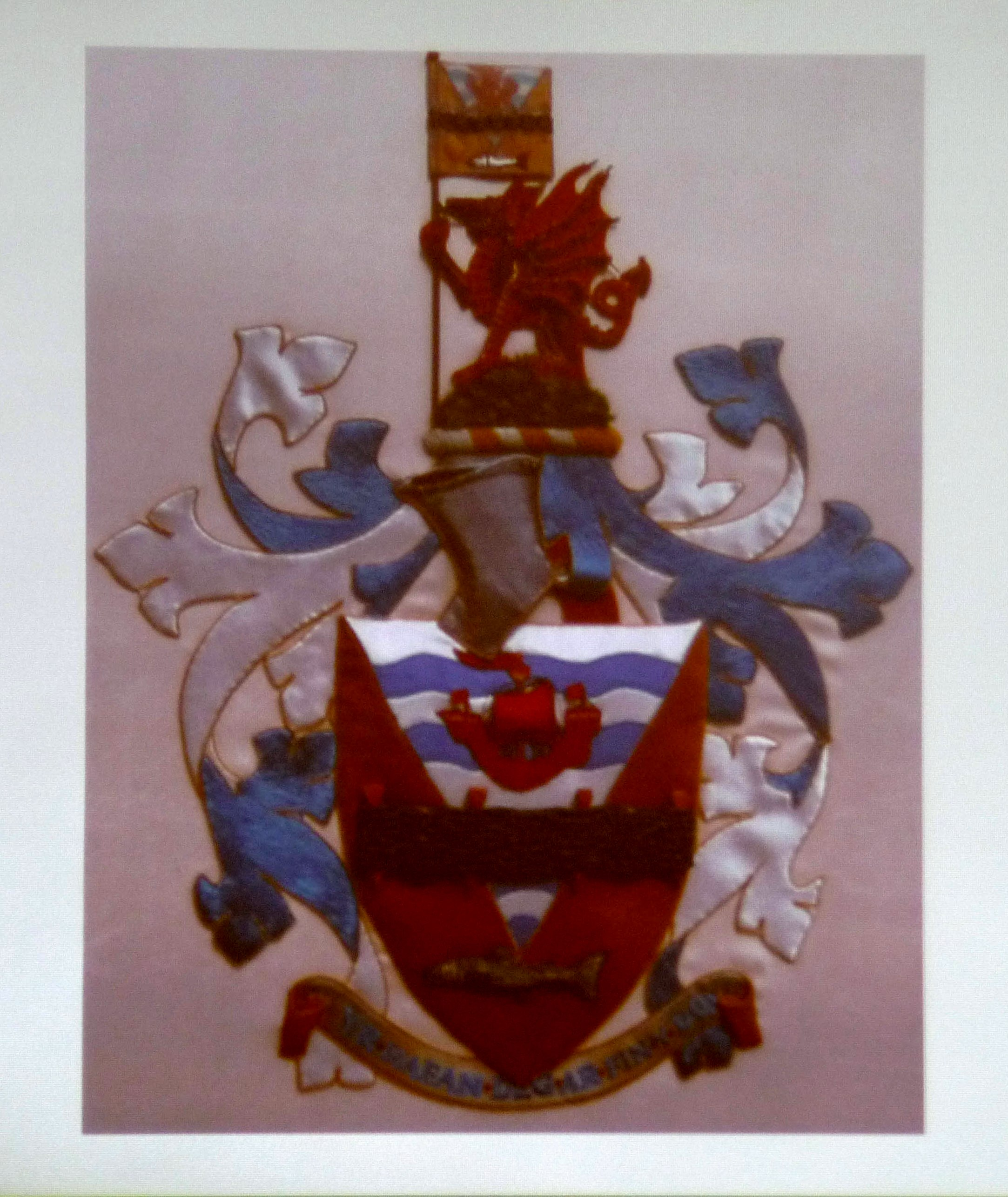 Rhyl Town Crest embroidered by Moya McCarthy and members of Rhyl EG