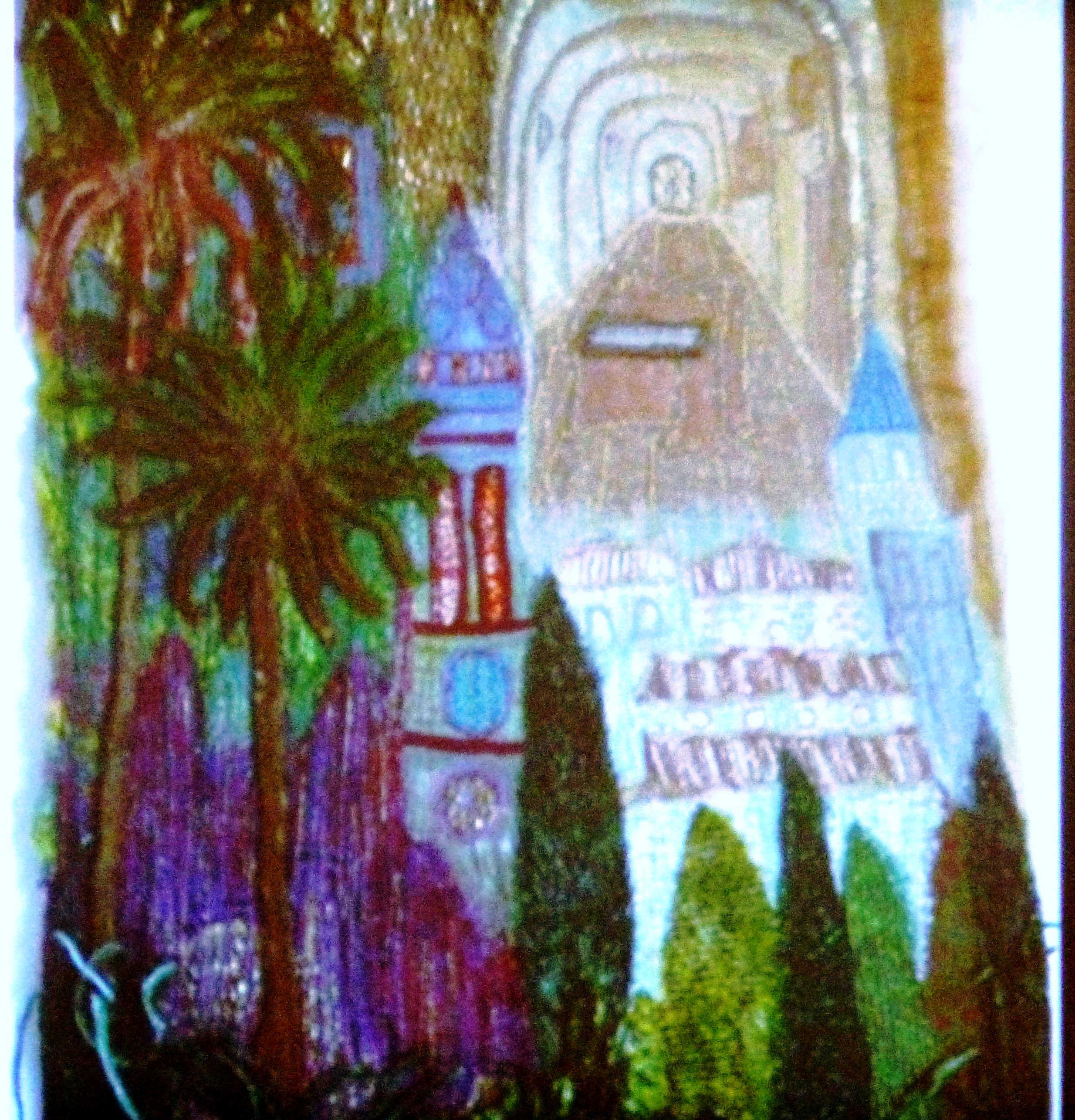 slide showing VALDEMOSA by Moya McCarthy, machine embroidery