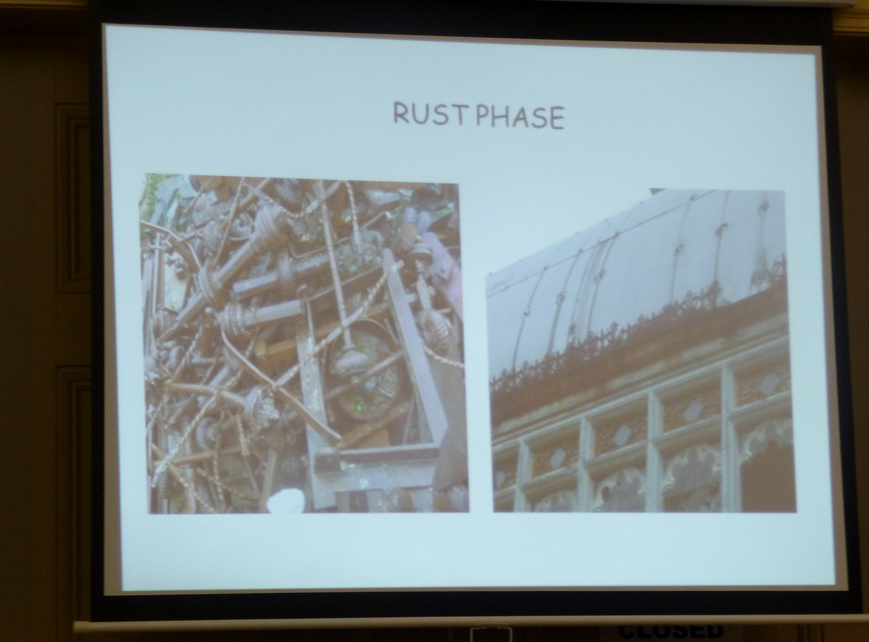 slide showing Moya McCarthy inspiration for embroidery in her 'Rust Phase'