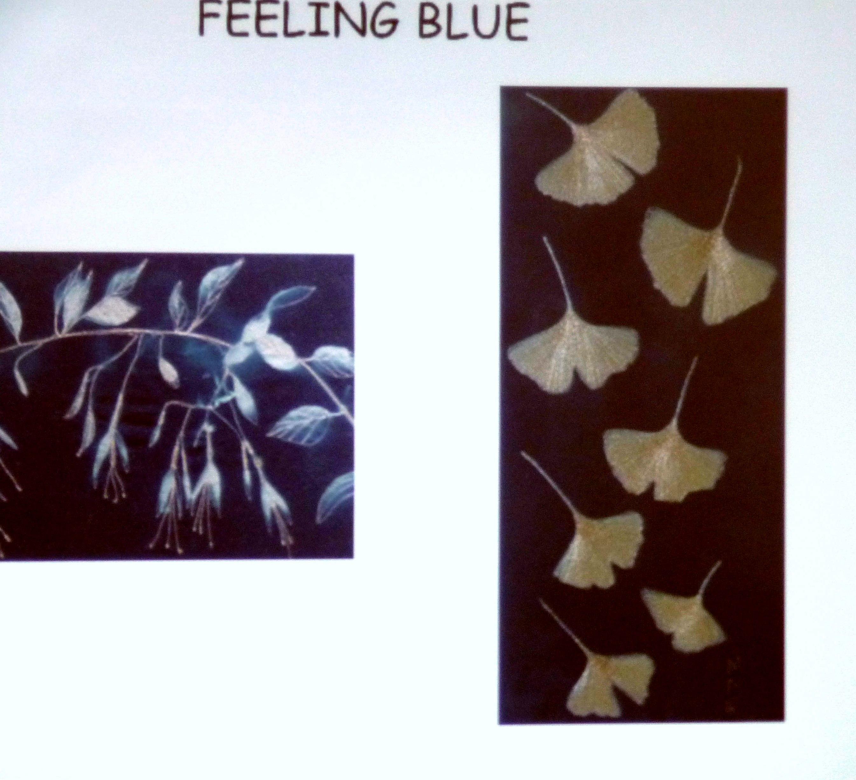 slide showing cyanotype images by Moya McCarthy