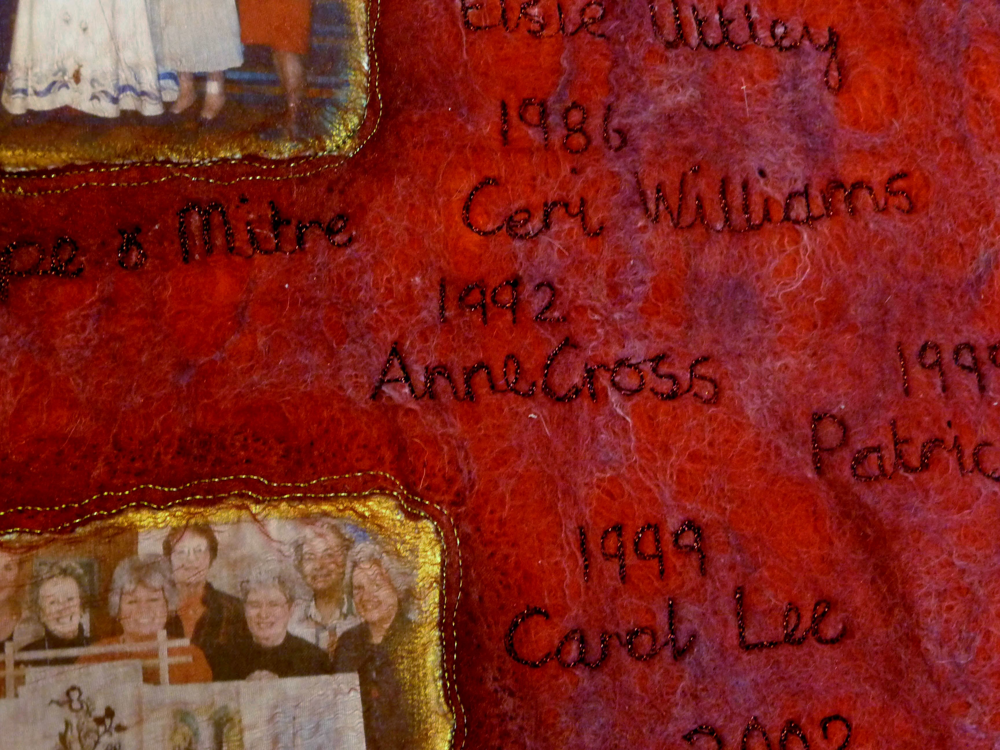 detail of RUBY REFLECTIONS by Moya McCarthy made for Rhyl EG 40th Anniversry
