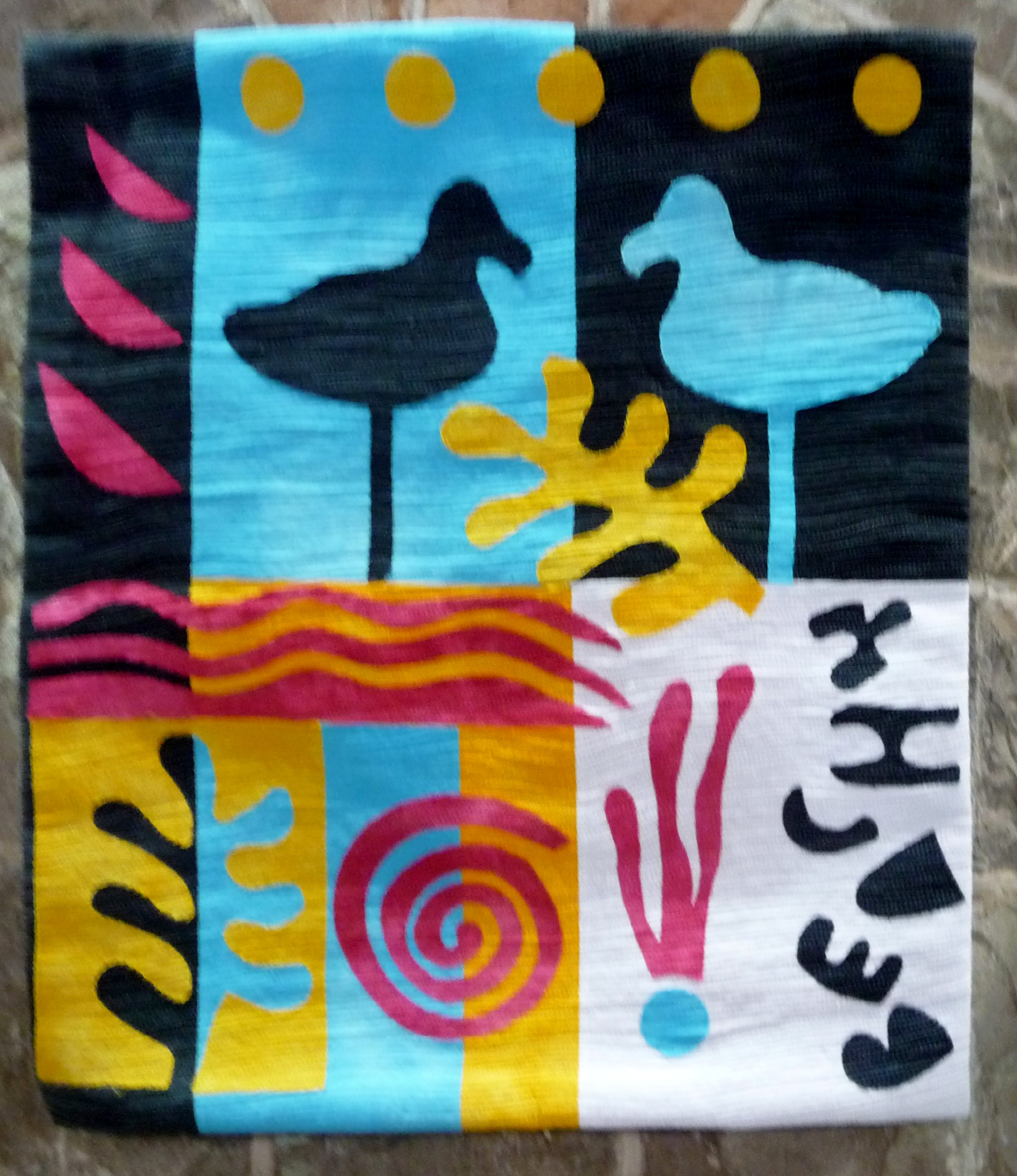 SHADES OF MATISSE by Jenny Sheen, hand dyed cottons appliqued & quilted