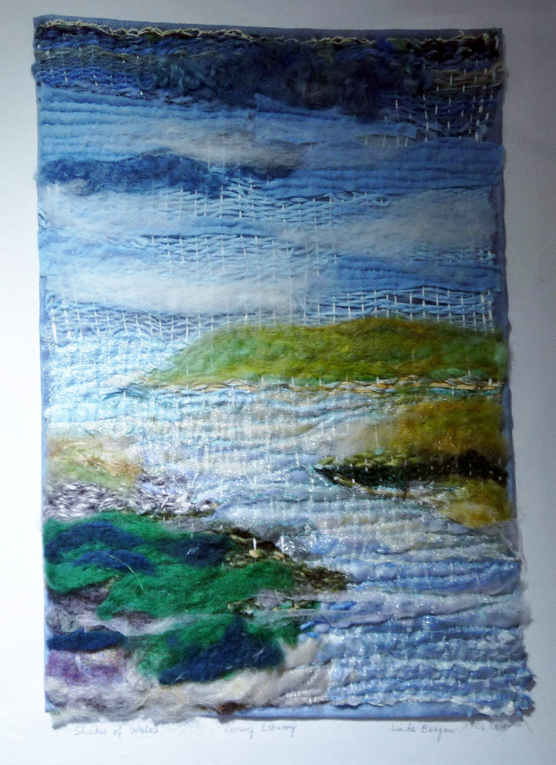 SHADES OF WALES by Linda Beagan, hand & machuned embroidered woven with fbric & thread