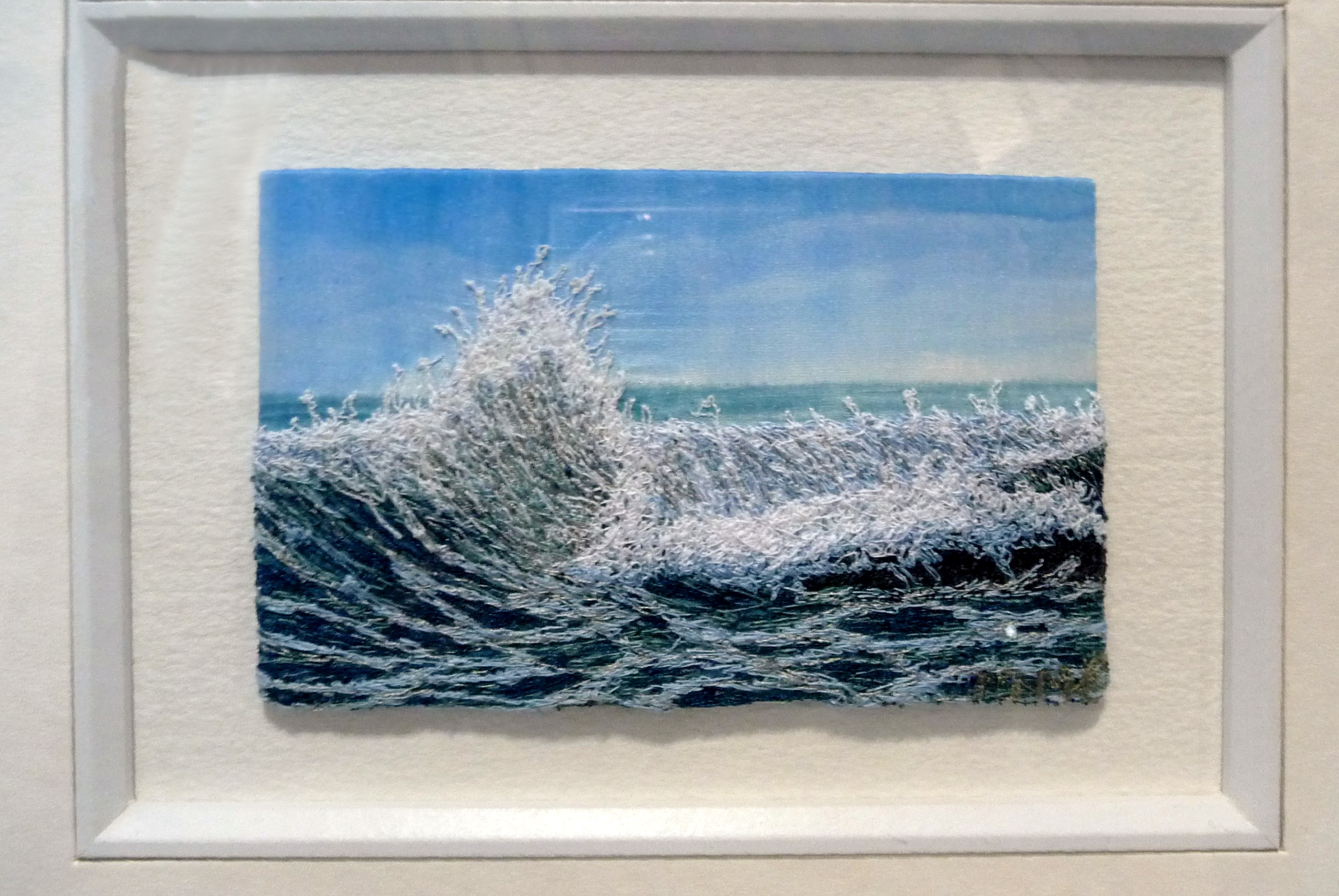 BREAKING WAVE by Moya McCarthy, free machine embroidery on painted silk