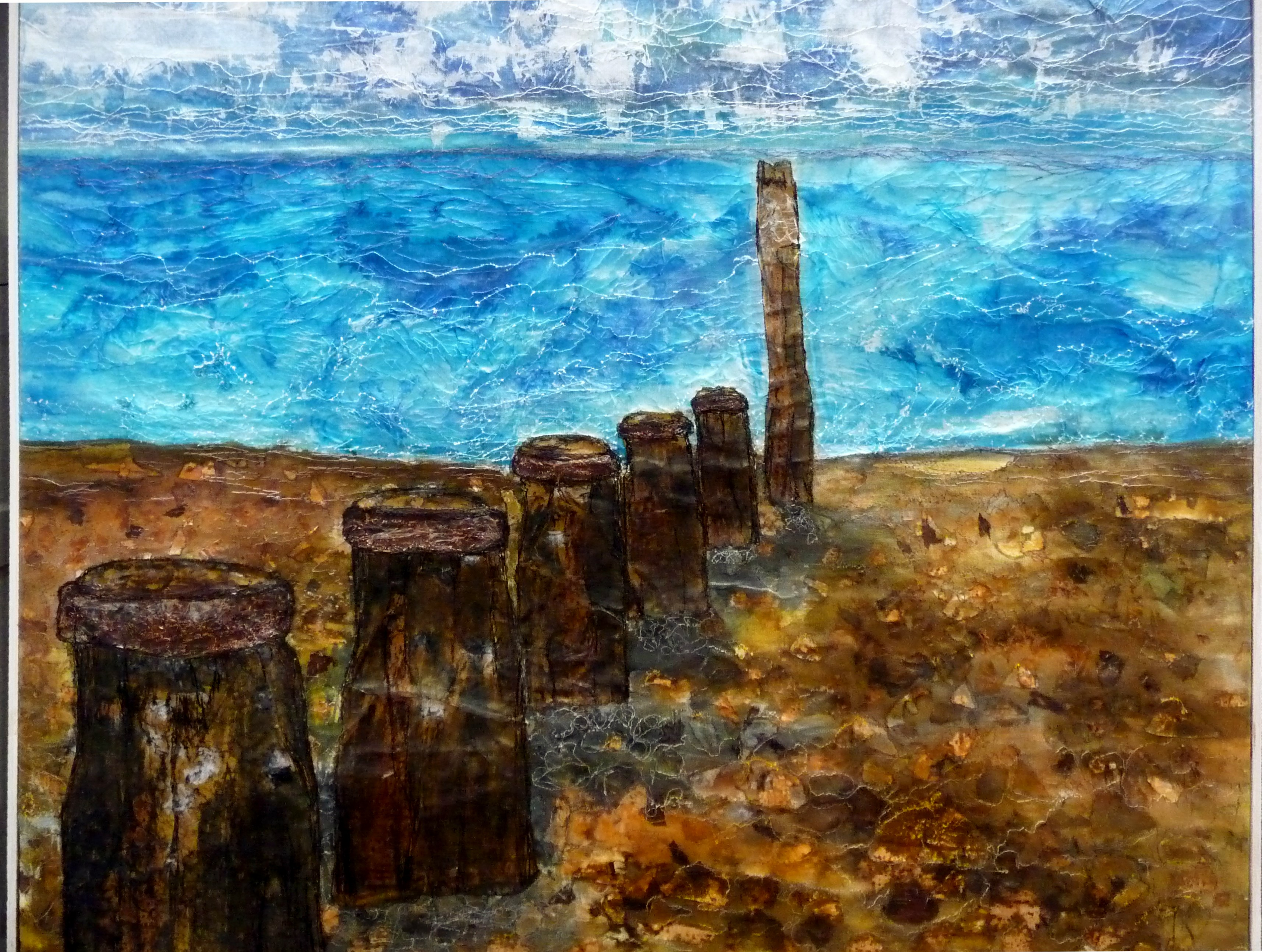 SOUTHWOLD BEACH by Alison Corfield, mixed media with fabric & paper, dye and machine stitch